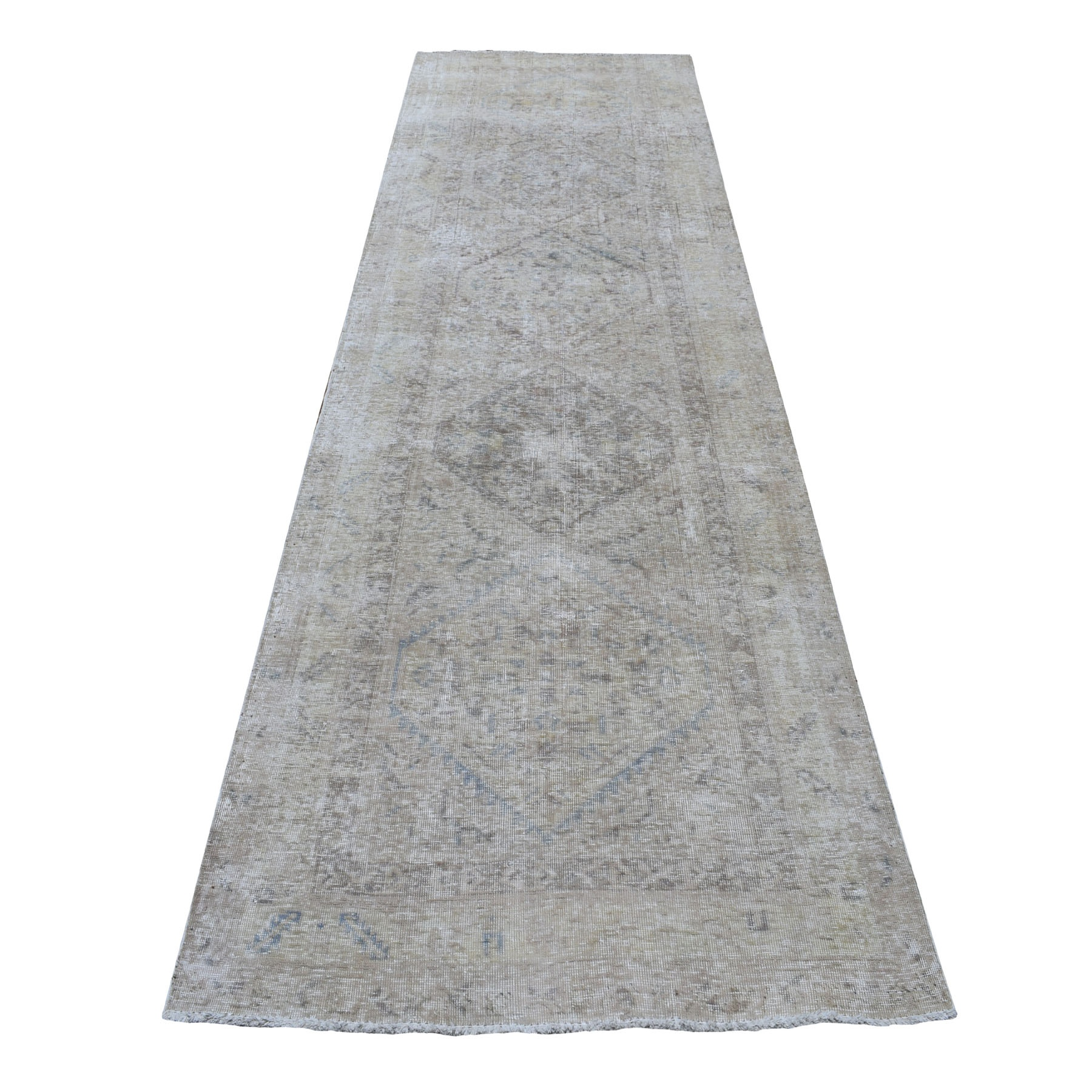 "3'6""X12'  Vintage And Worn Down Distressed Colors Persian Shiraz Wide Runner Hand Knotted Bohemian Rug moaedaba"