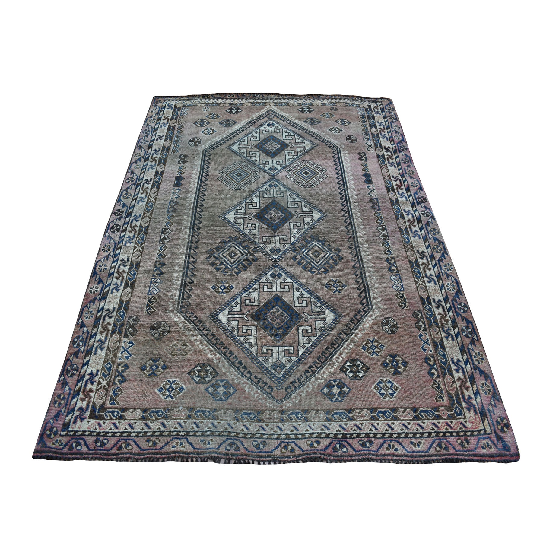 "5'1""X7'5"" Vintage And Worn Down Distressed Colors Persian Shiraz Hand Knotted Bohemian Rug moaedab6"