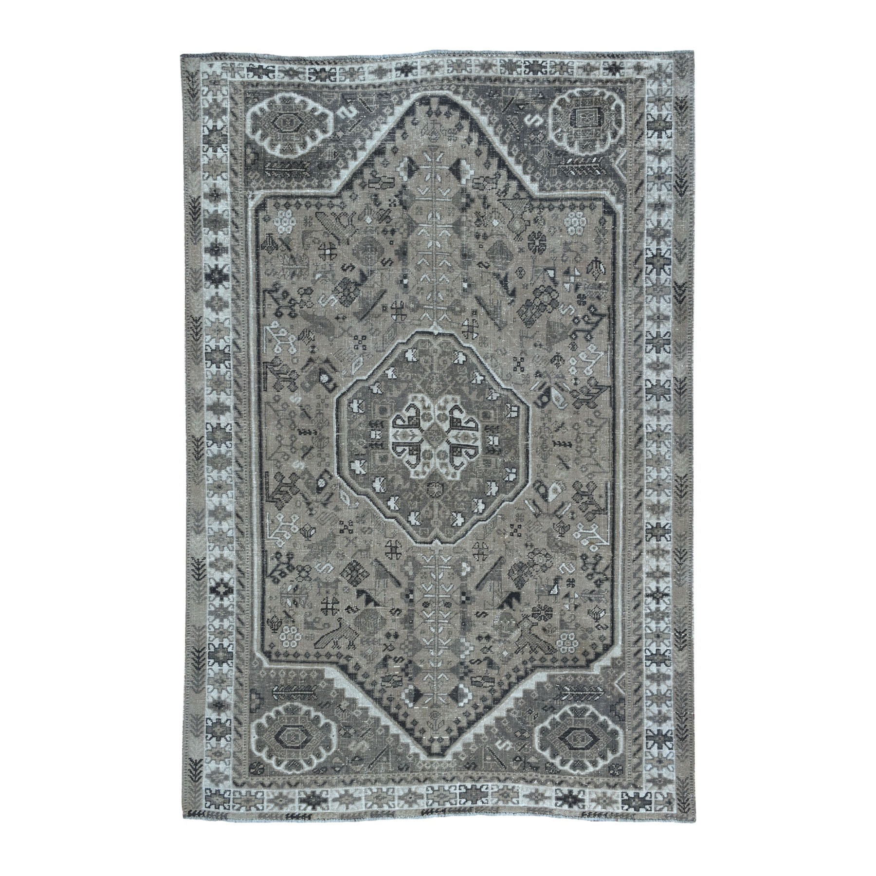 "6'4""X9'1"" Vintage And Worn Down Distressed Colors Persian Qashqai Hand Knotted Bohemian Rug moaedab8"