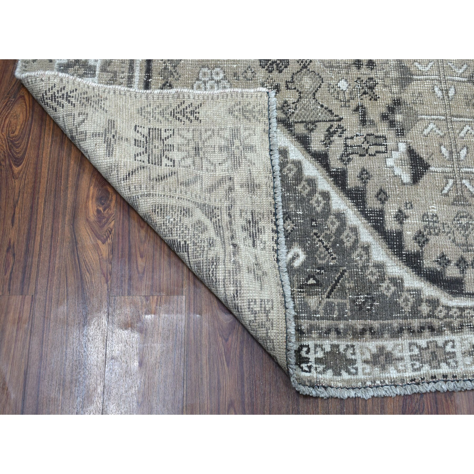 """6'4""""x9'1"""" Vintage And Worn Down Distressed Colors Persian Qashqai Hand Knotted Bohemian Rug"""