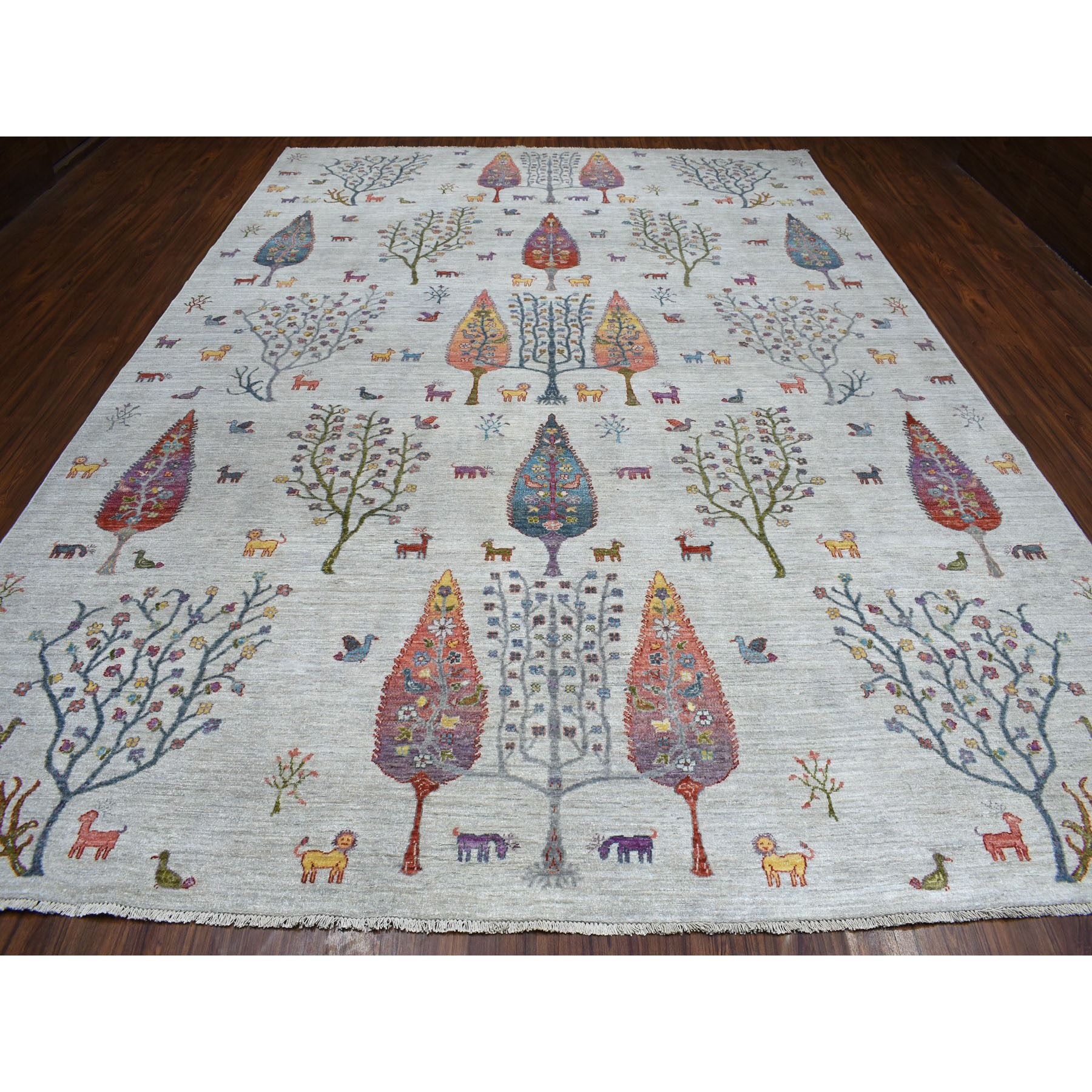 9-9 x13-7  Folk Art Willow And Cypress Tree Design Peshawar With Pop Of Color Hand Knotted Oriental Rug
