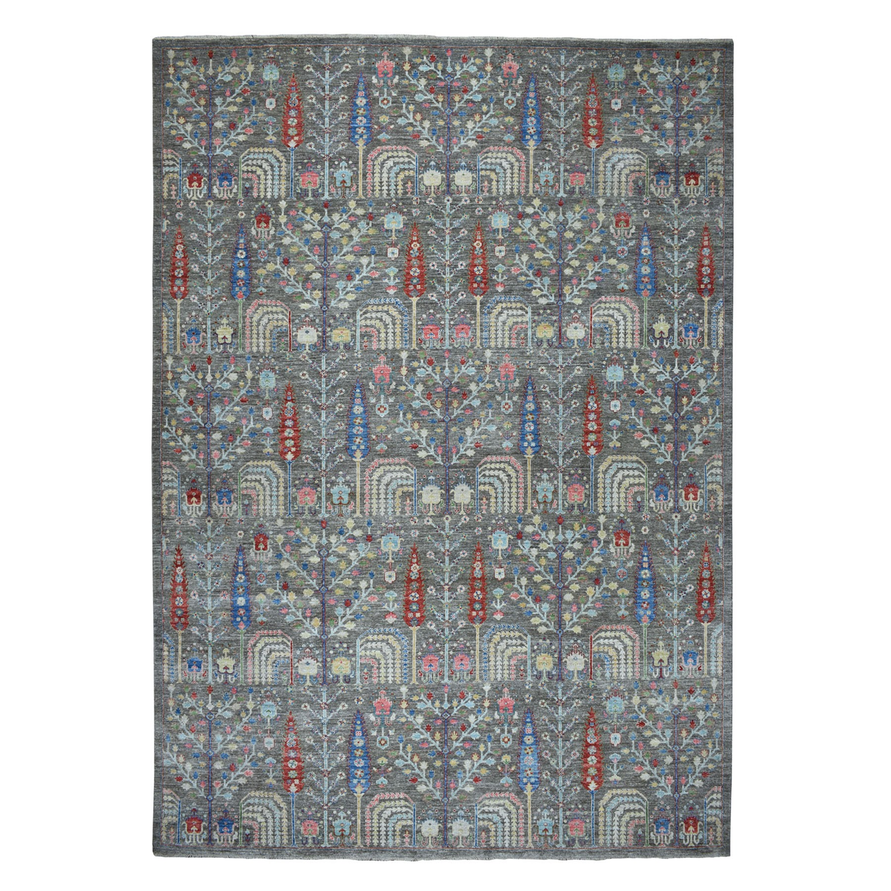 10'X14' Gray With Pop Of Color Willow And Cypress Tree Design Hand Knotted Oriental Rug moaedac0