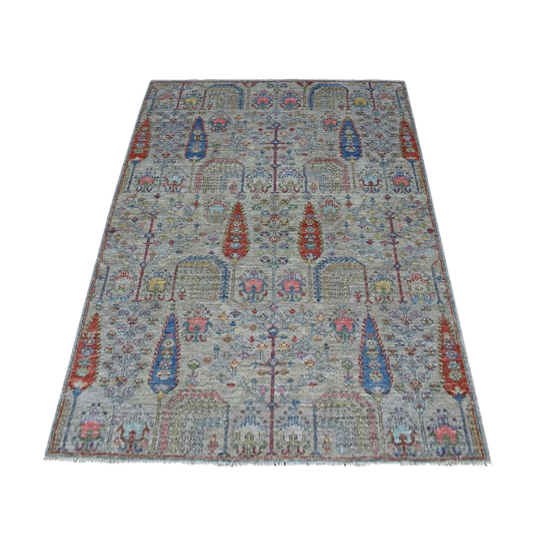 "3'9""X5'8"" Gray With Pop Of Color Willow And Cypress Tree Design Hand Knotted Oriental Rug moaedaca"