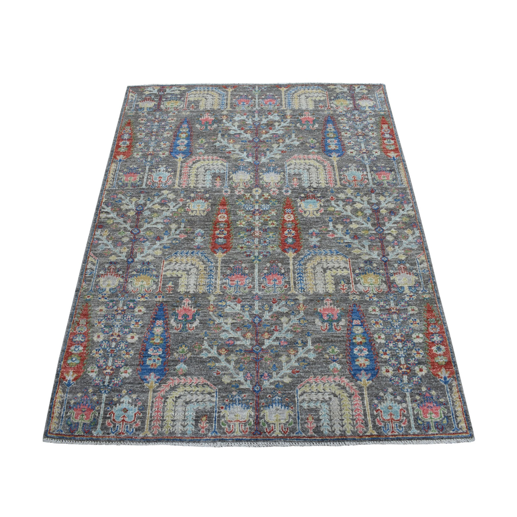 "4'X5'8"" Gray With Pop Of Color Willow And Cypress Tree Design Hand Knotted Oriental Rug moaedacb"