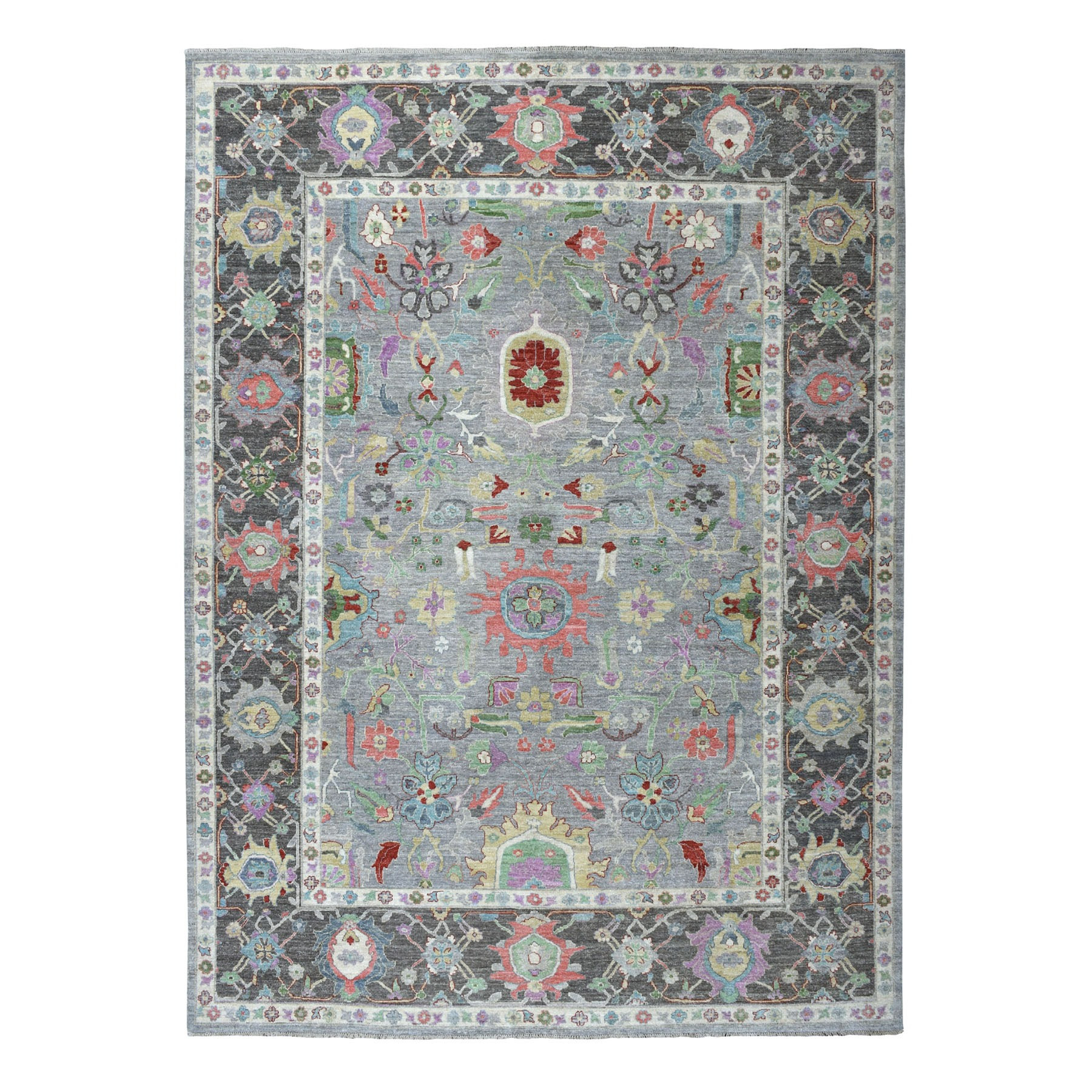 """9'1""""X11'7"""" Colorful Peshawar Hand Knotted Pure Wool Oriental Rug moaedacd"""