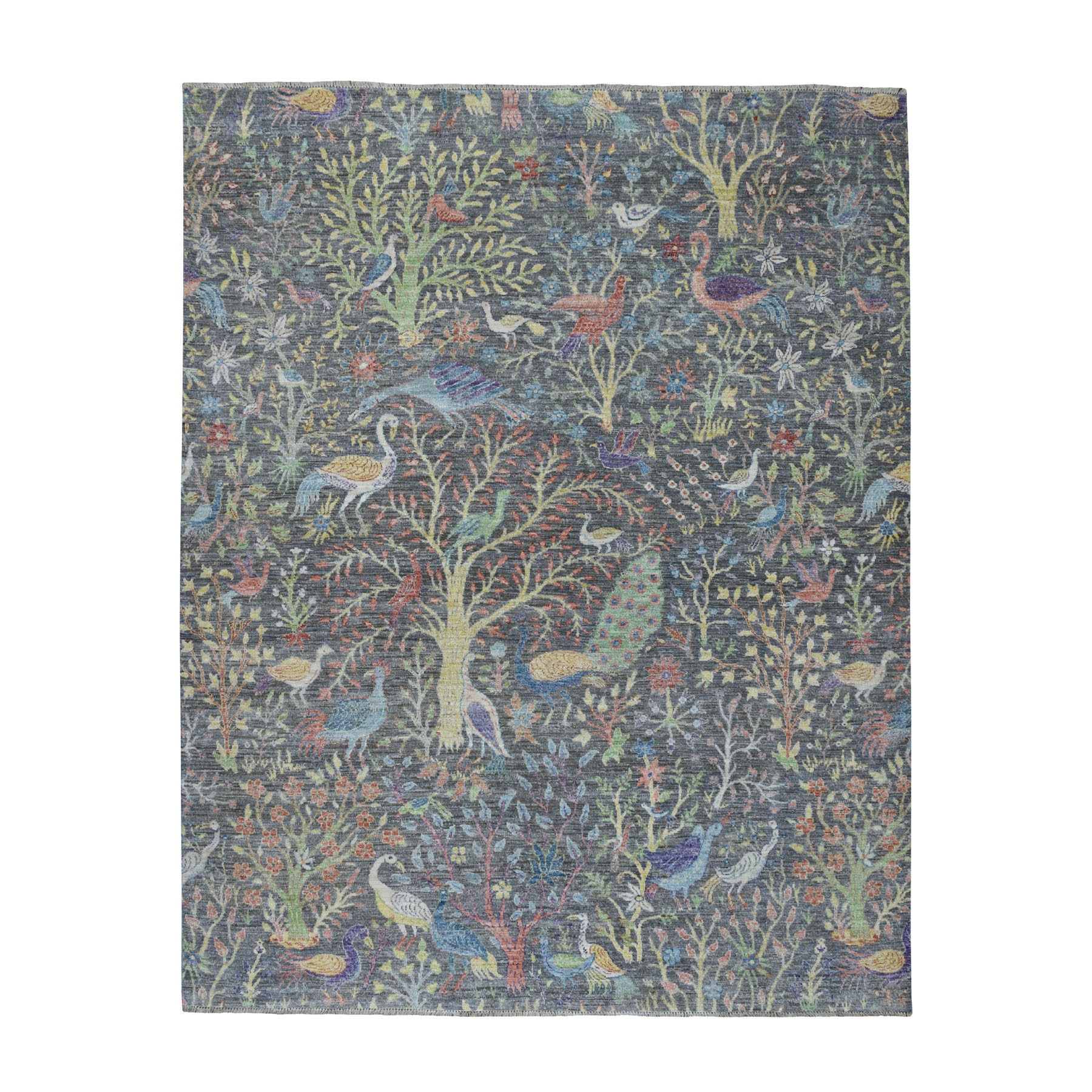 "8'1""x9'2"" Grey Birds of Paradise Peshawar Pure Wool Hand Knotted Oriental Rug"