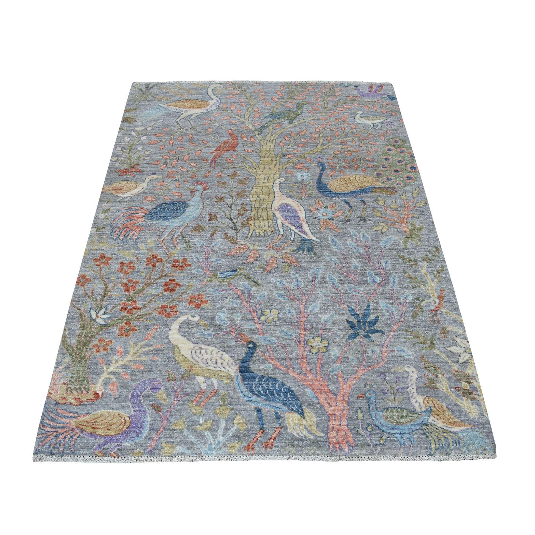 4'X6' Gray Birds Of Paradise Peshawar Pure Wool Hand Knotted Oriental Rug moaedadb