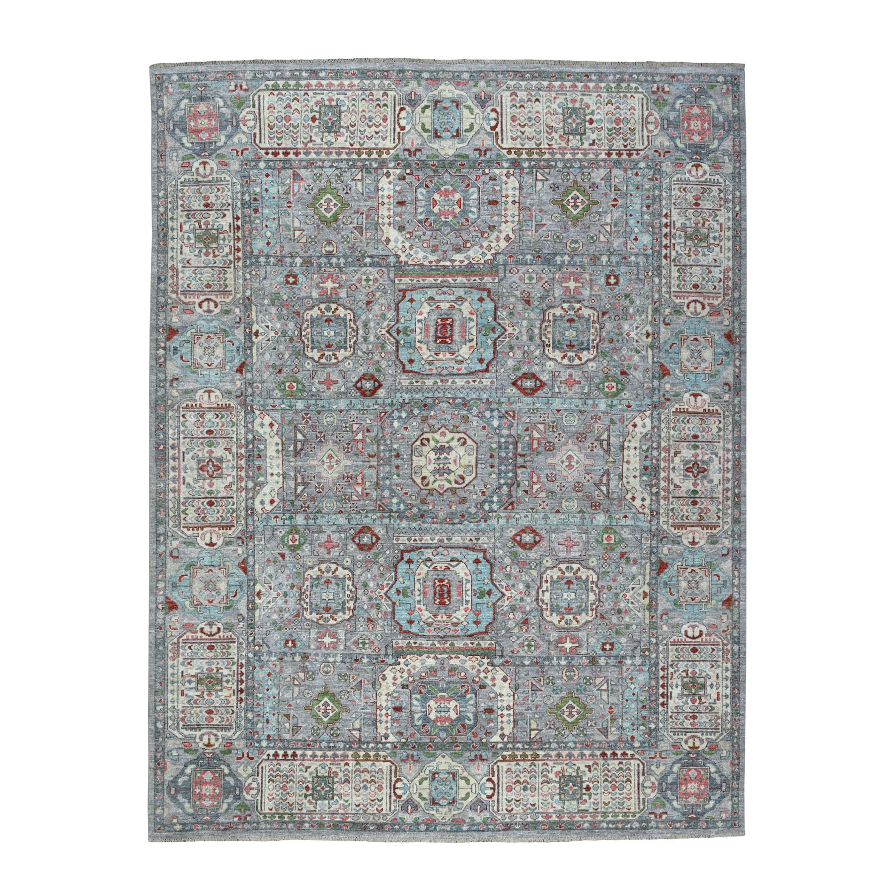 "7'10""X10'1"" Peshawar With Mamluk Design With Pop Of Color Hand Knotted Oriental Rug moaedadd"