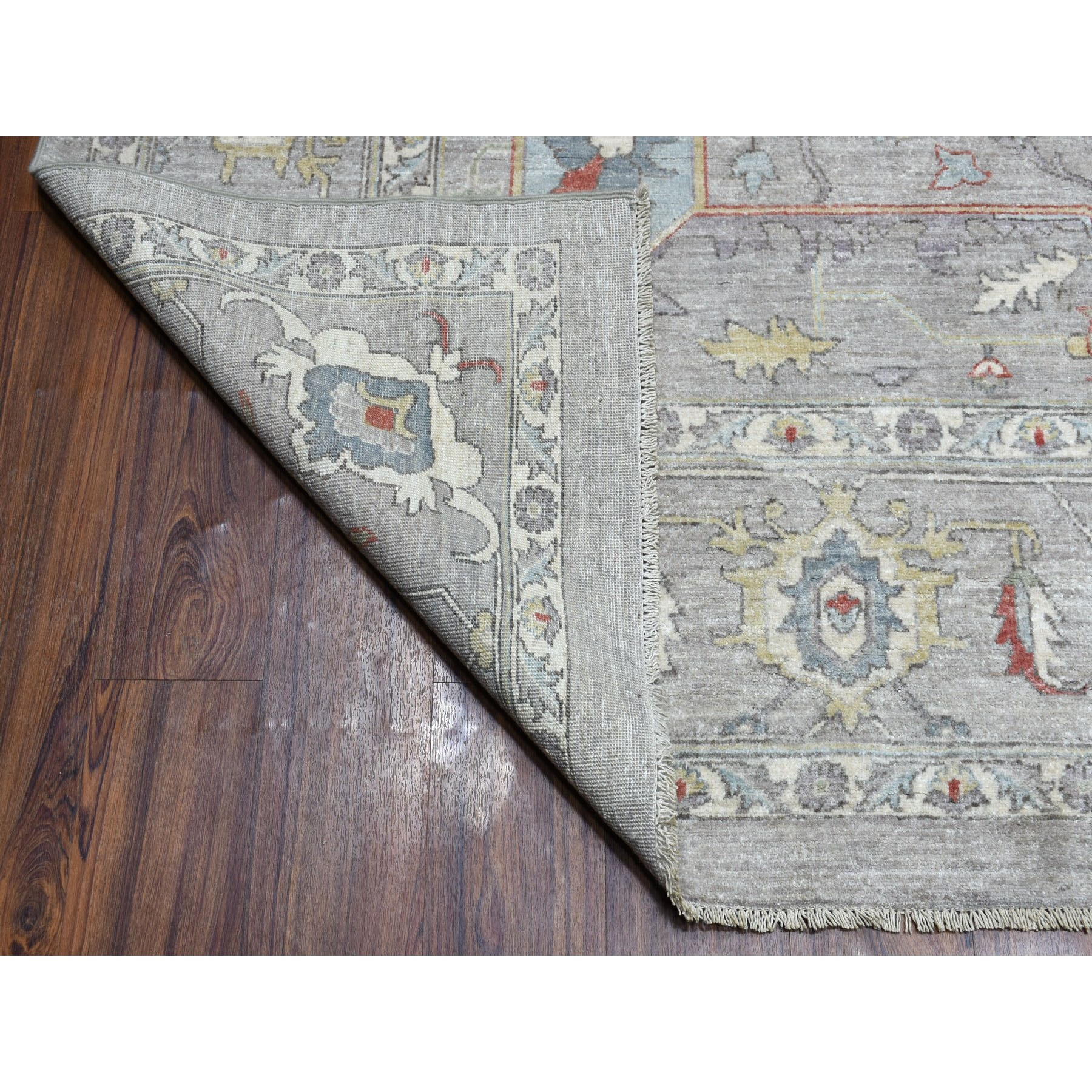 8-10 x11-4  Gray Peshawar With Heriz Design Pop OF Color Hand Knotted Oriental Rug