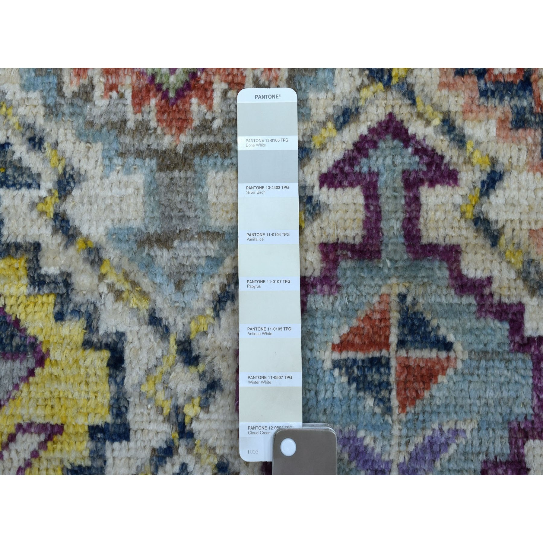 """5'x6'7"""" Ivory Tribal Design Colorful Afghan Baluch Hand Knotted Pure Wool Oriental Rug"""