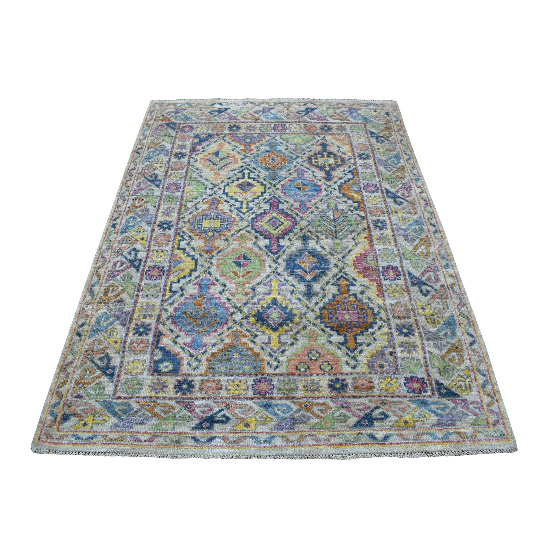 "6'10""x4'10"" Ivory Tribal Design Colorful Afghan Baluch Hand Knotted Pure Wool Oriental Rug"
