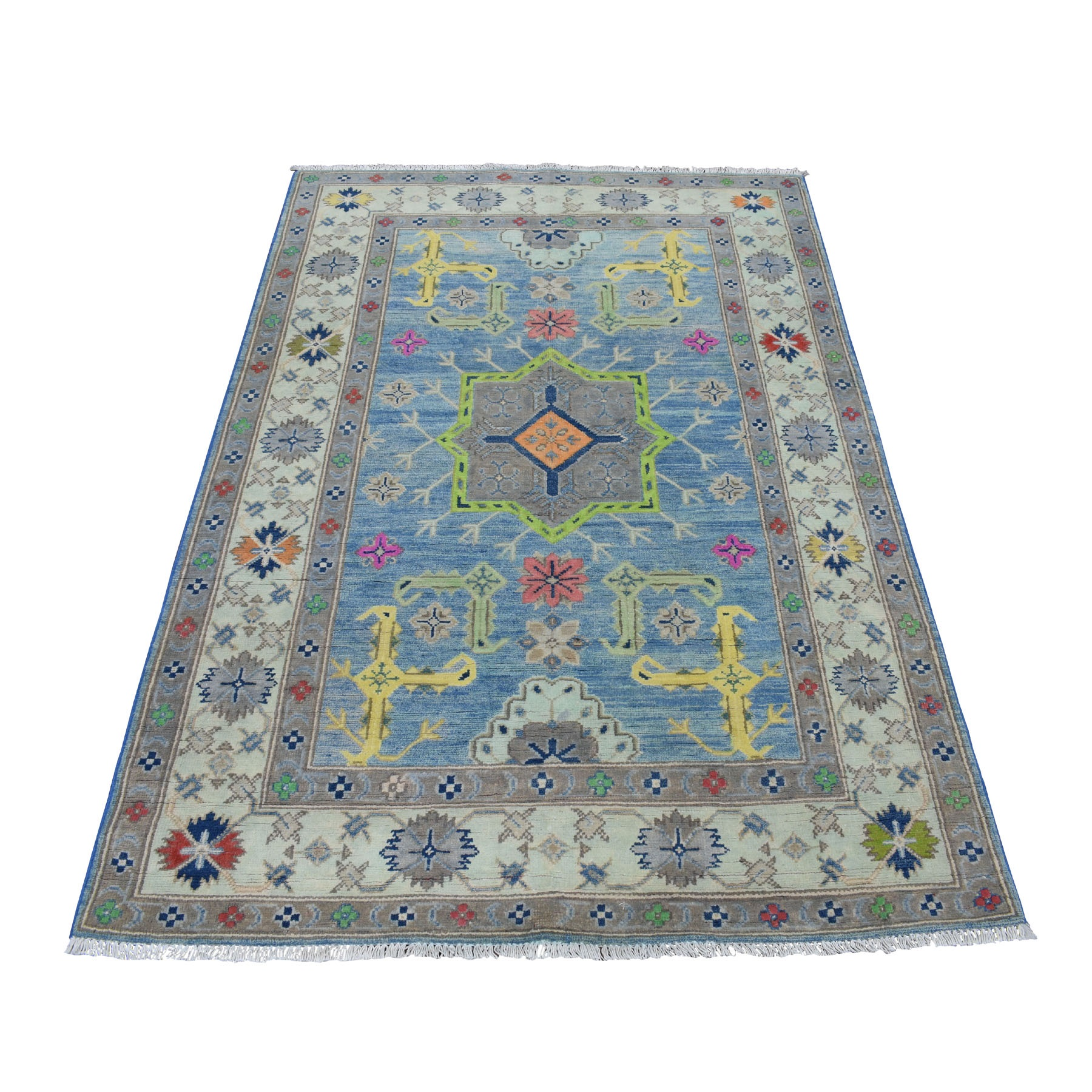 "4'1""x6' Colorful Blue Fusion Kazak Pure Wool Geometric Design Hand Knotted Oriental Rug 54152"
