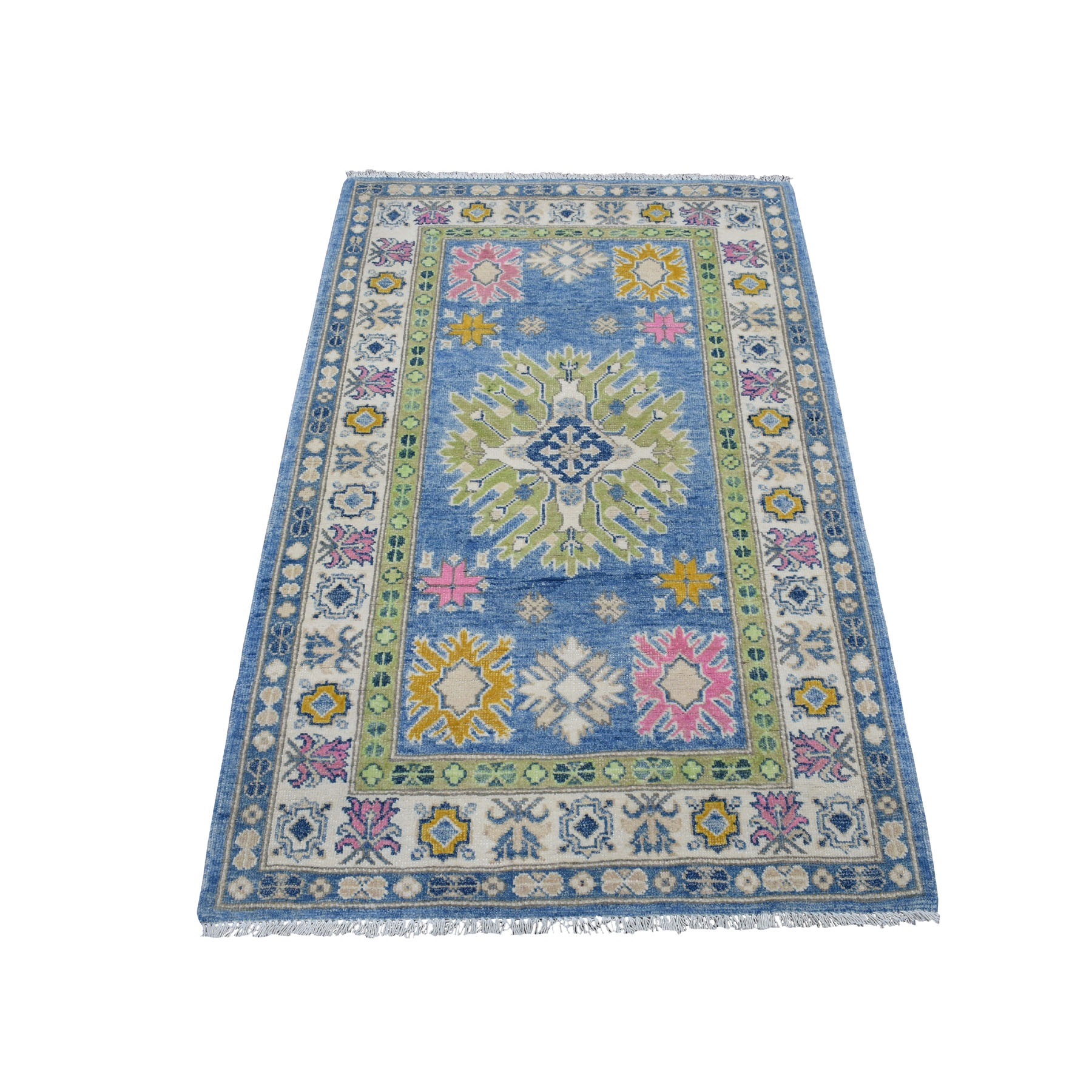 "3'2""x5' Colorful Blue Fusion Kazak Pure Wool Geometric Design Hand Knotted Oriental Rug 54155"