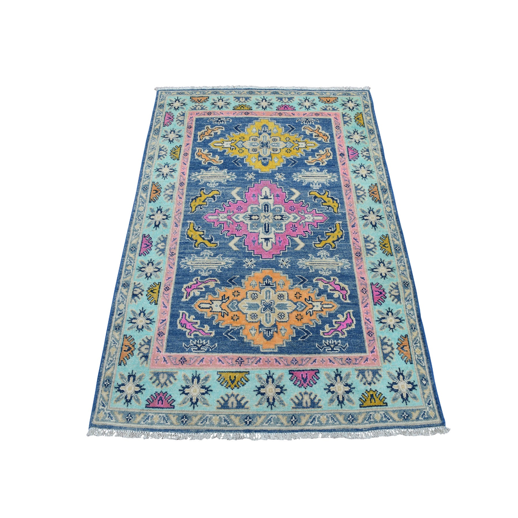 """3'4""""x5' Colorful Blue Fusion Kazak Pure Wool Geometric Design Hand Knotted Oriental Rug 54161"""