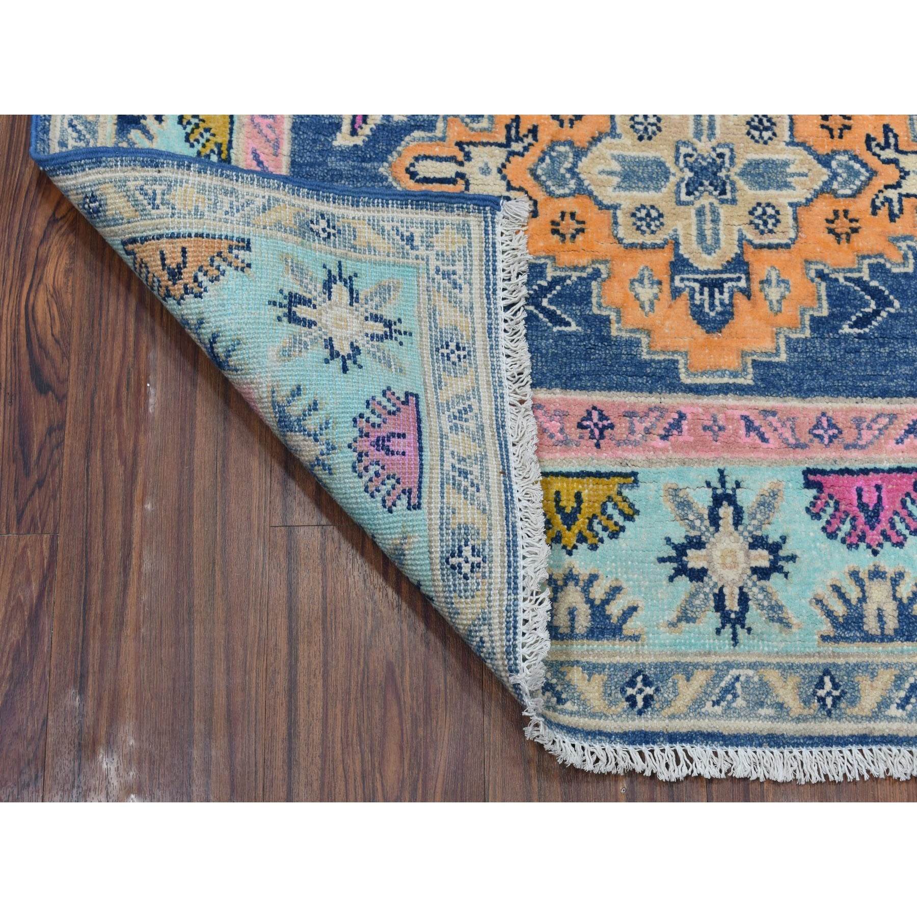 """3'4""""x5' Colorful Blue Fusion Kazak Pure Wool Geometric Design Hand Knotted Oriental Rug"""