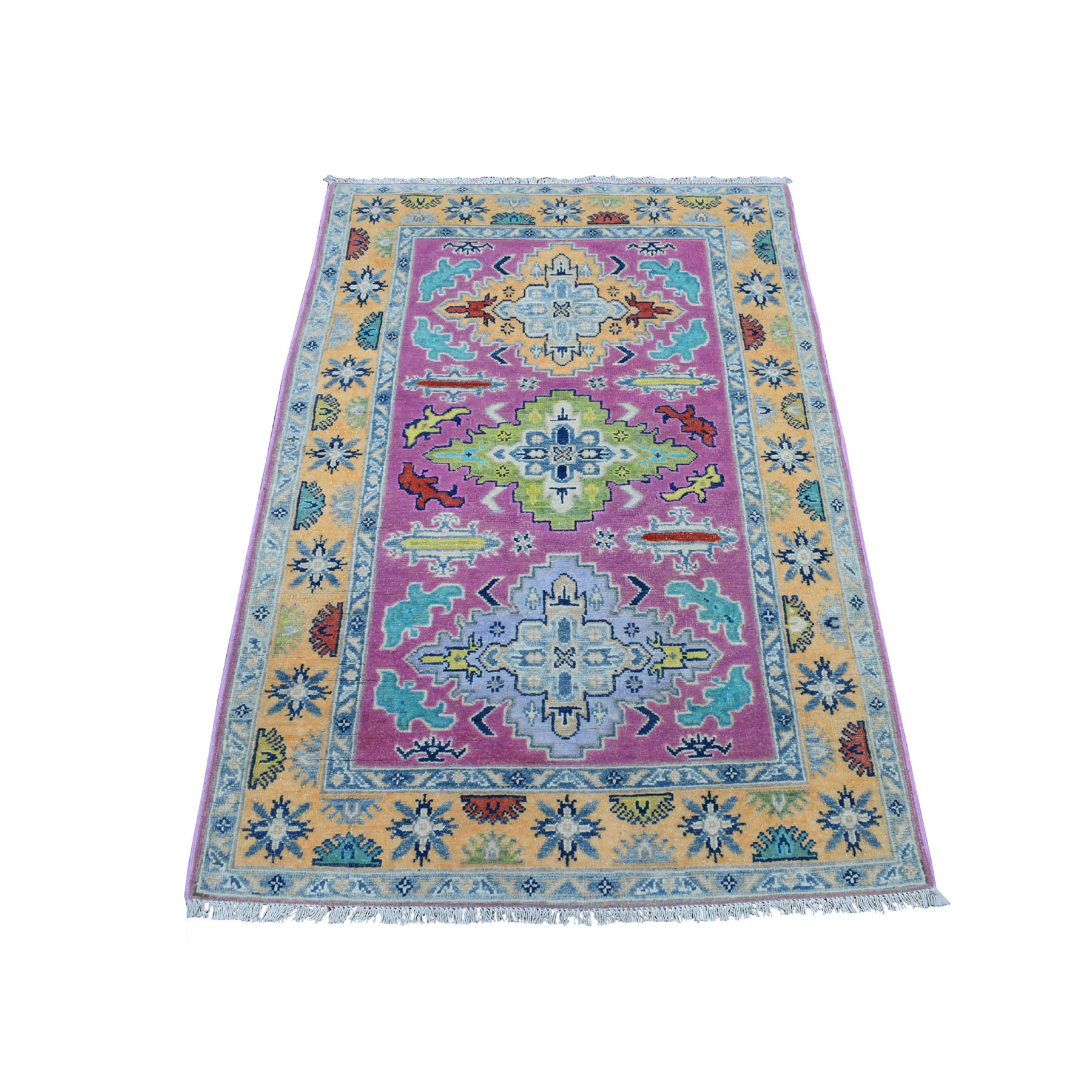 "3'4""x5' Colorful Pink Fusion Kazak Pure Wool Geometric Design Hand Knotted Oriental Rug"