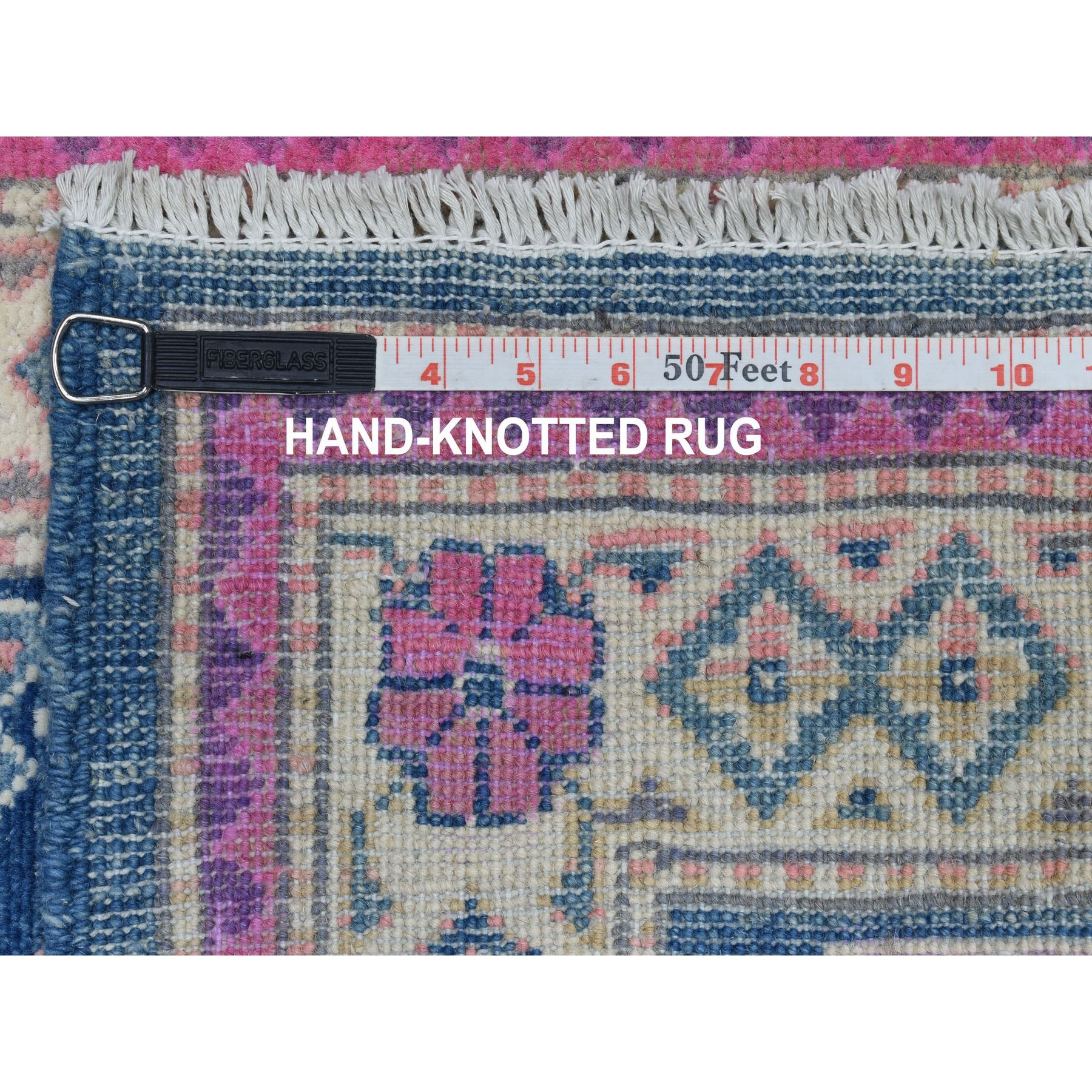 2'x3' Colorful Blue Fusion Kazak Pure Wool Geometric Design Hand Knotted Oriental Rug