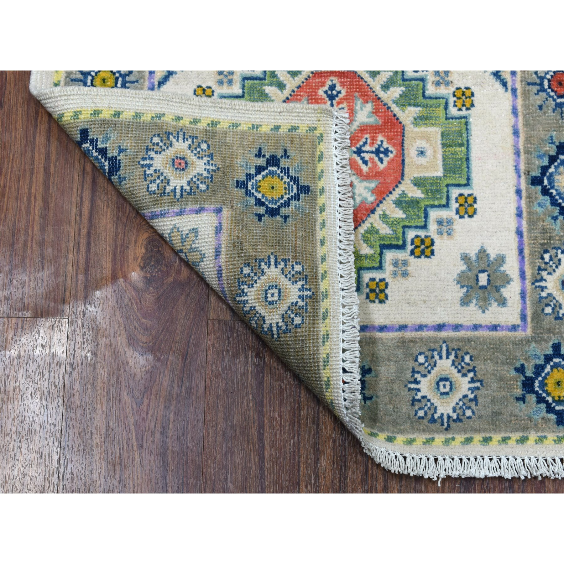 """2'3""""x3'1"""" Colorful Ivory Fusion Kazak Pure Wool Hand Knotted Oriental Rug"""