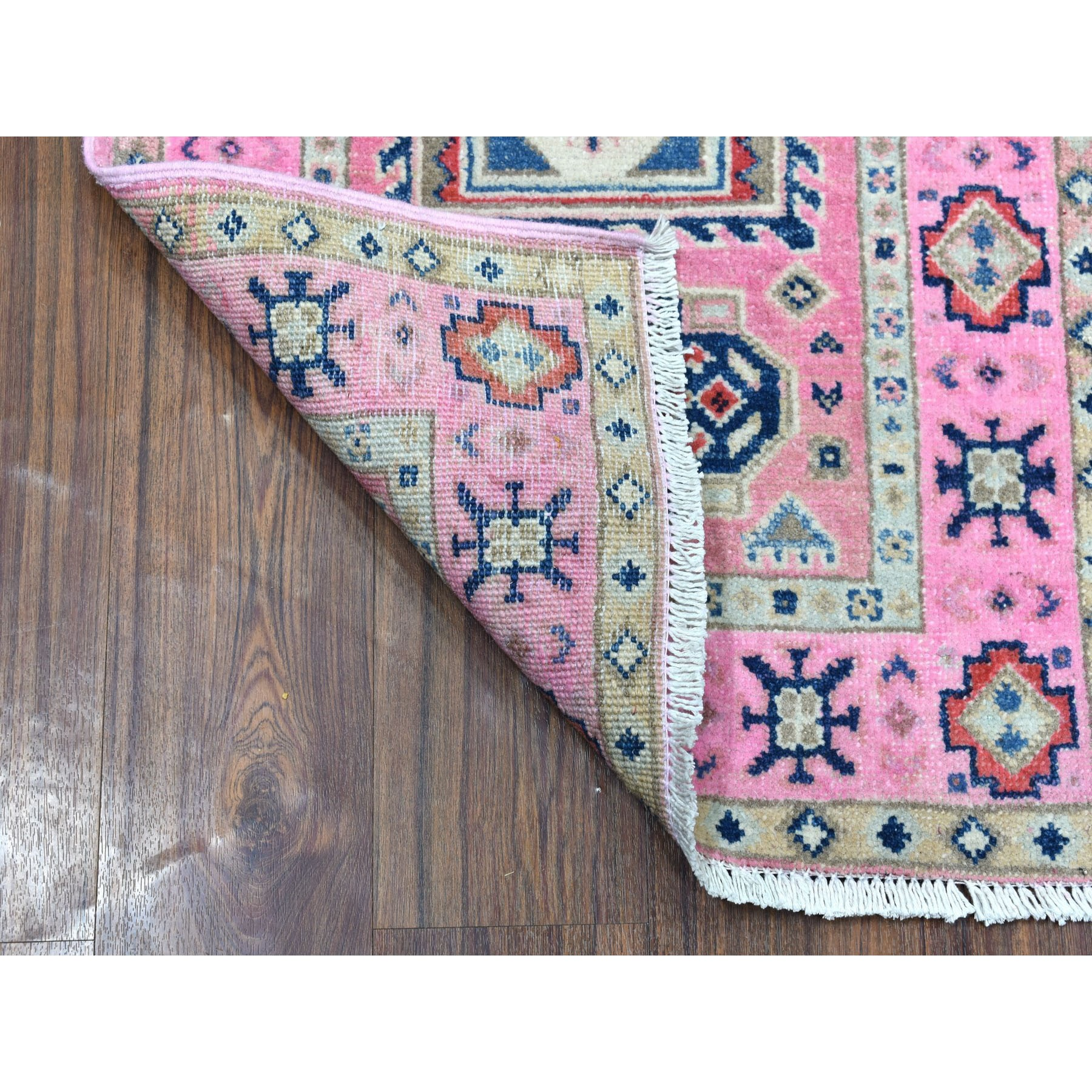 """2'1""""x2'10"""" Colorful Pink Fusion Kazak Pure Wool Geometric Design Hand Knotted Oriental Rug"""