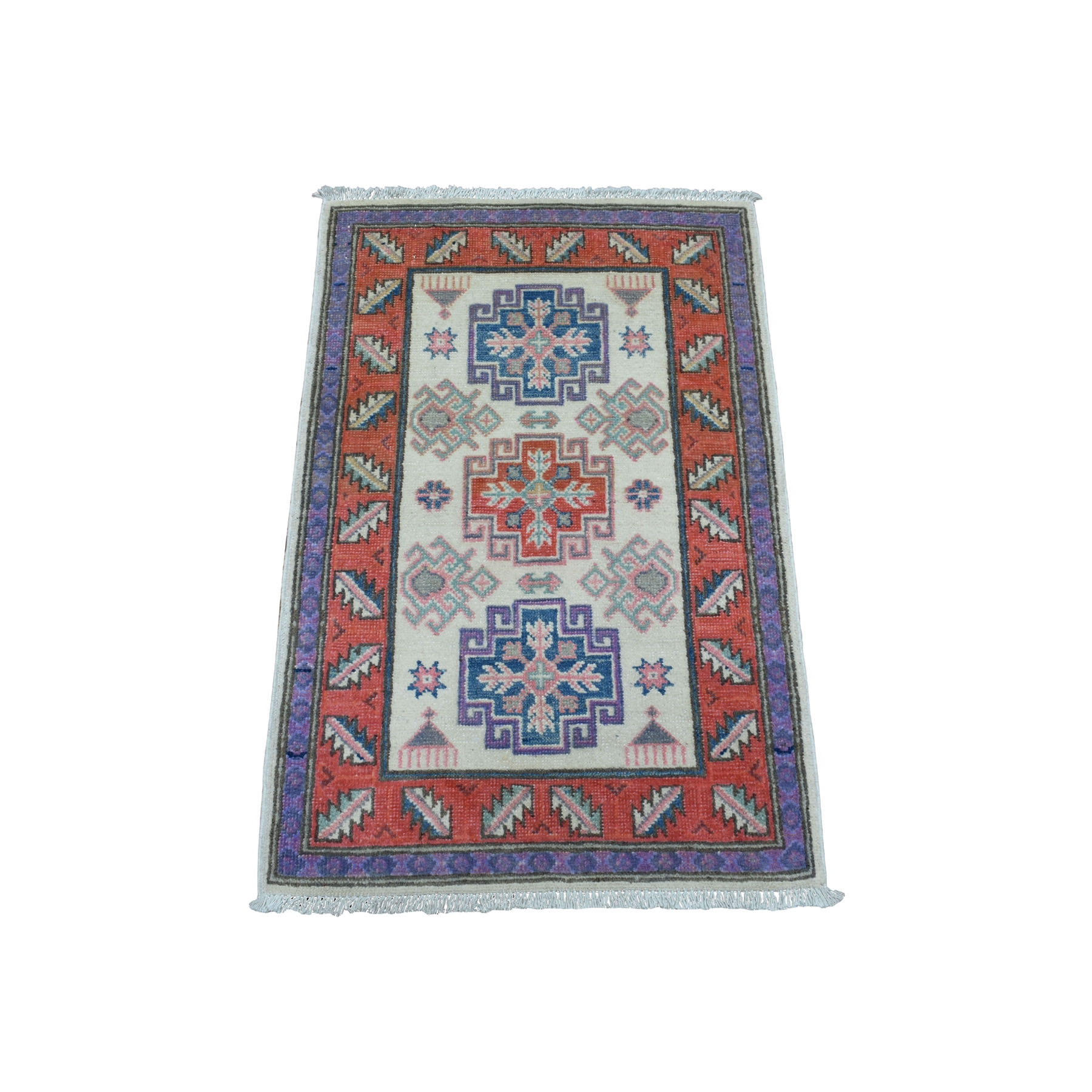 2'X3' Colorful Ivory Fusion Kazak Pure Wool Hand Knotted Oriental Rug moaeda68