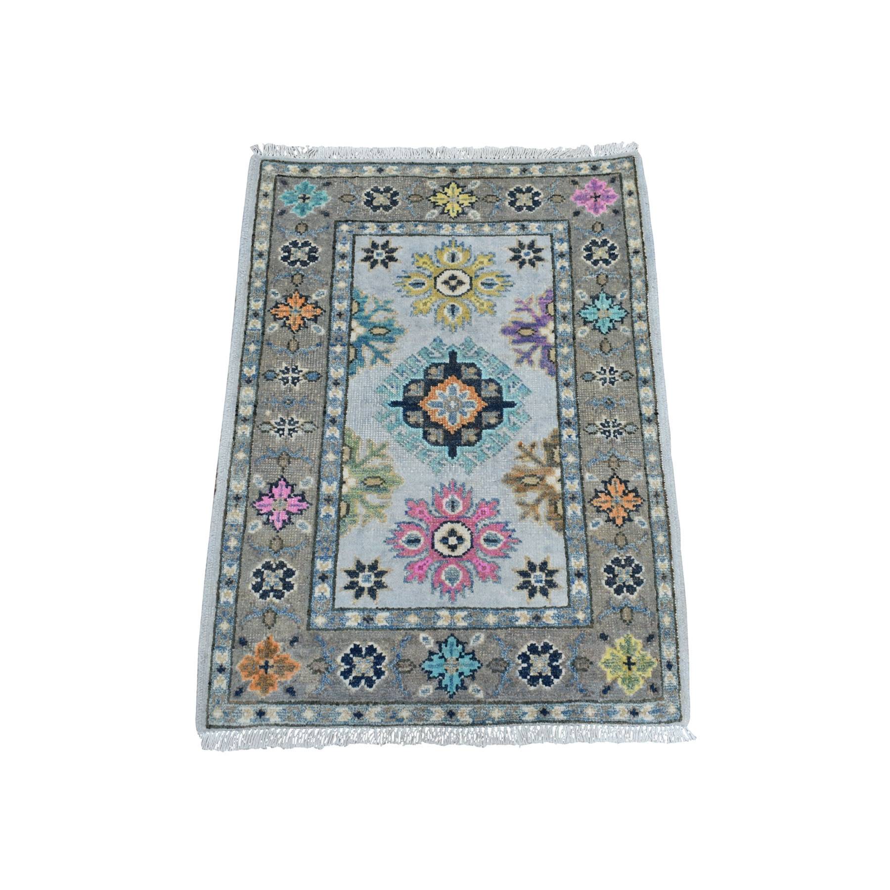 "2'X2'9"" Colorful Ivory Fusion Kazak Pure Wool Hand Knotted Oriental Rug moaeda7a"