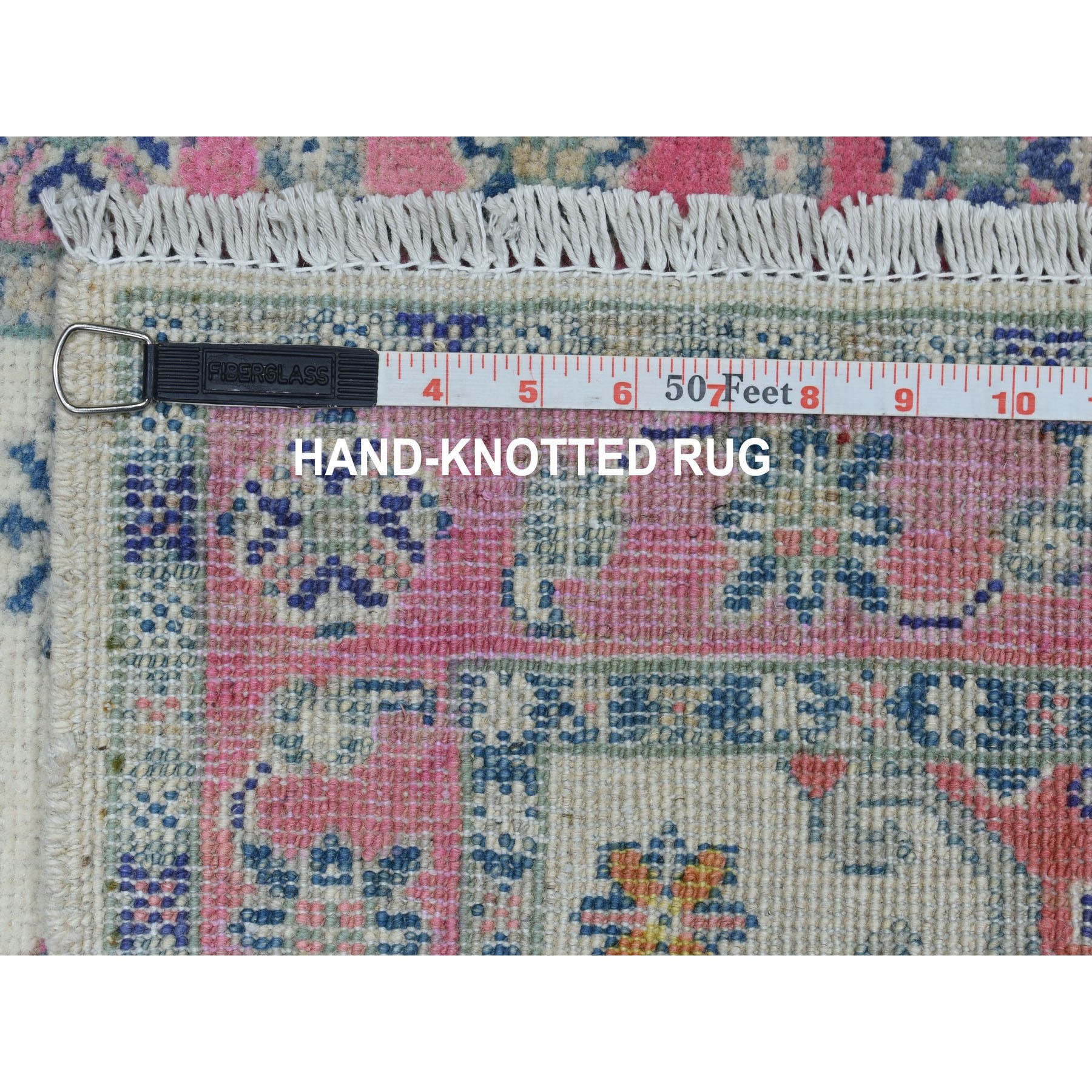 """2'1""""x3' Colorful Ivory Fusion Kazak Pure Wool Hand Knotted Oriental Rug"""