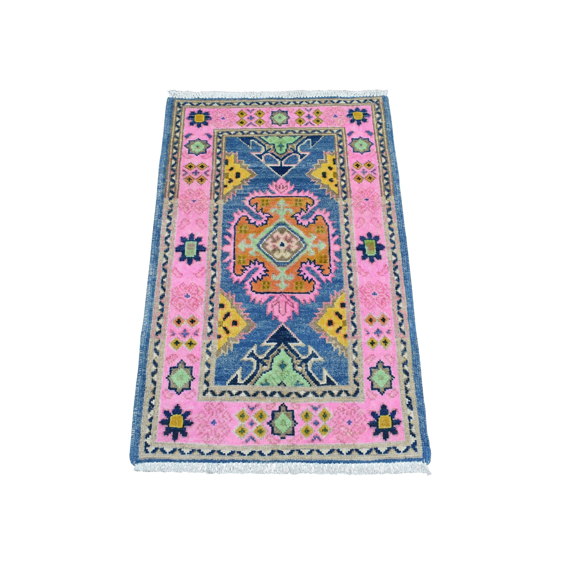 """2'x3'1"""" Colorful Blue Fusion Kazak Pure Wool Geometric Design Hand Knotted Oriental Rug 54173"""