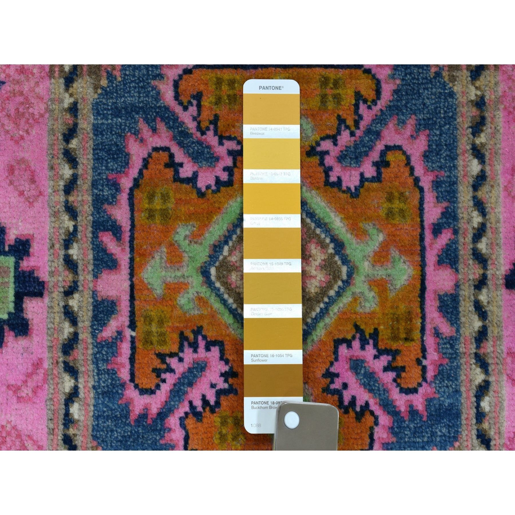 """2'x3'1"""" Colorful Blue Fusion Kazak Pure Wool Geometric Design Hand Knotted Oriental Rug"""