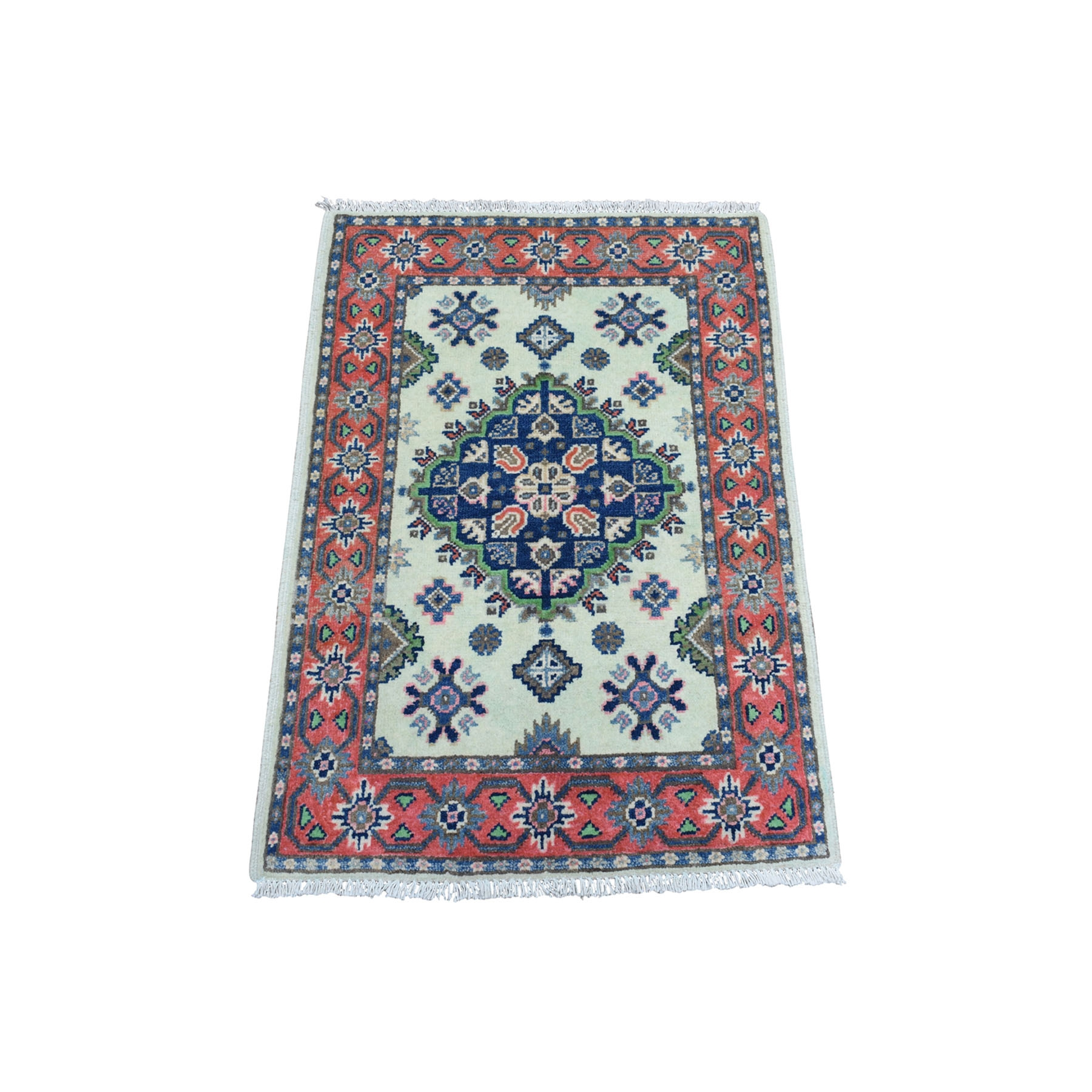 2'X3' Colorful Ivory Fusion Kazak Pure Wool Hand Knotted Oriental Rug moaeda7d