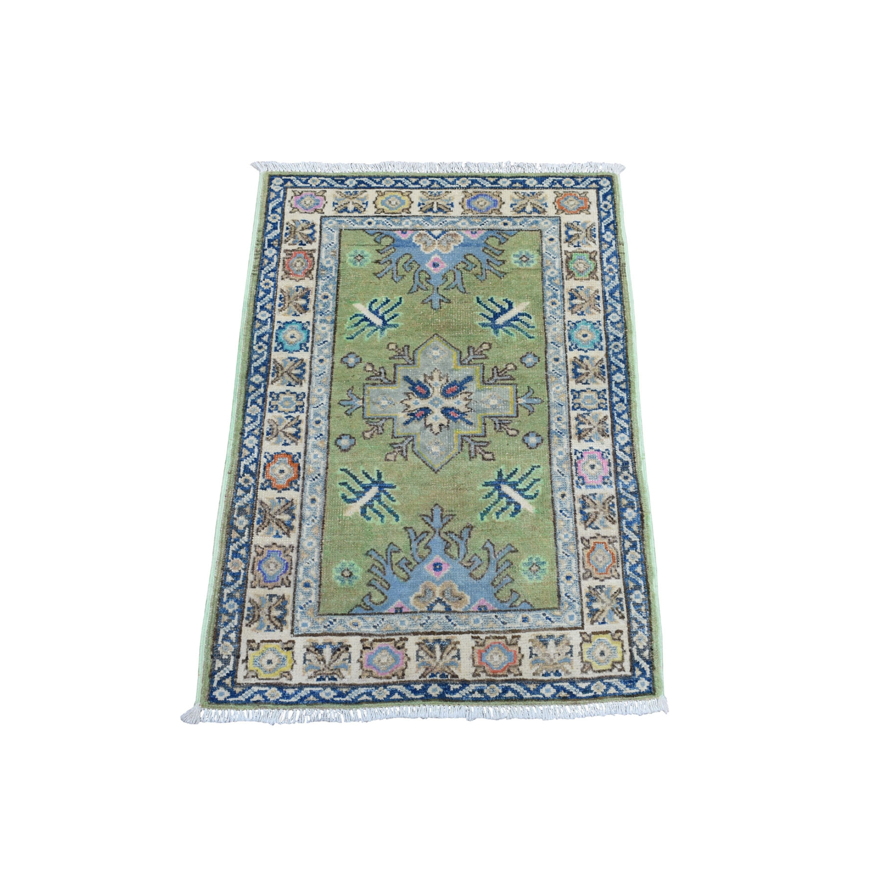 "2'X2'9"" Colorful Green Fusion Kazak Pure Wool Hand Knotted Oriental Rug moaeda7e"