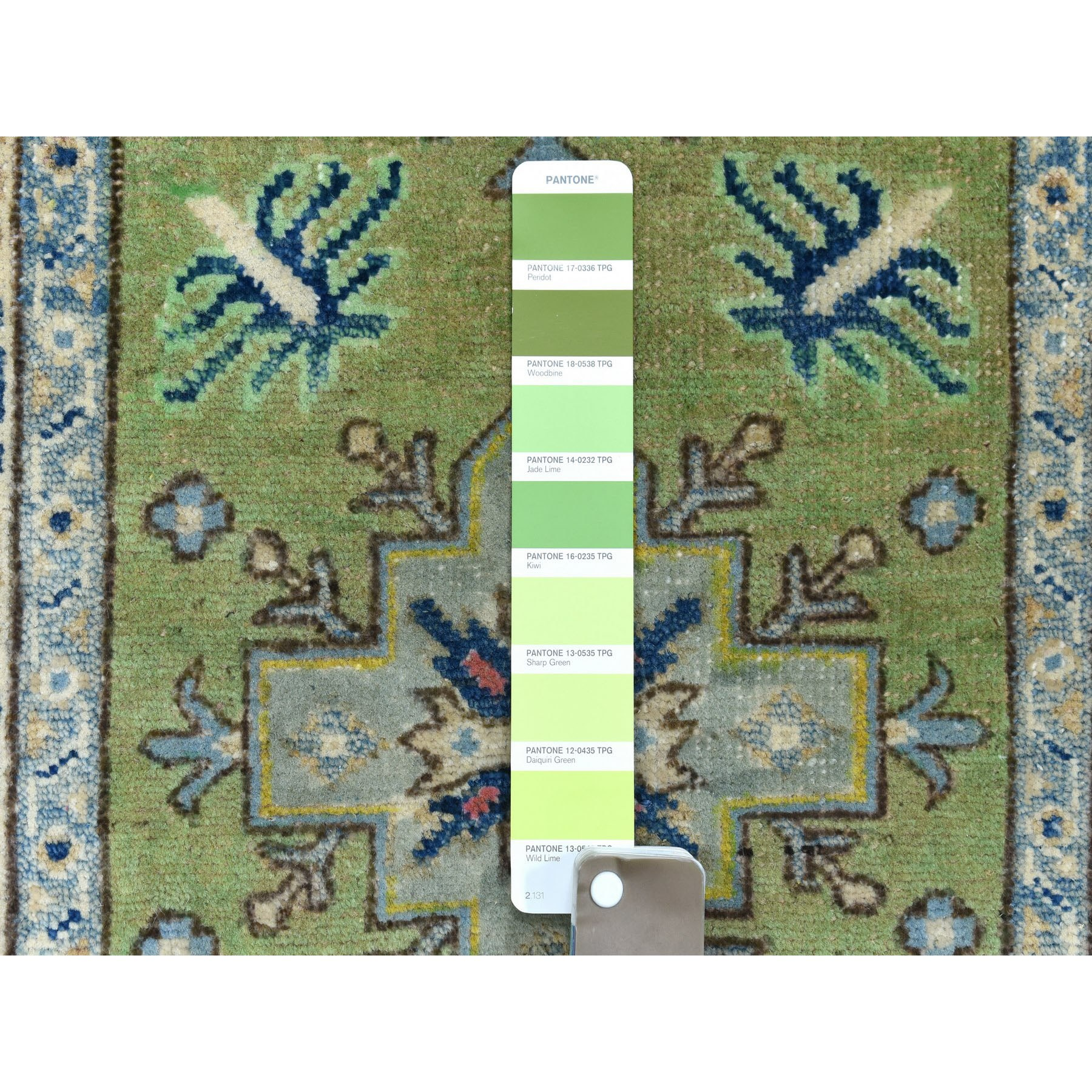 """2'x2'9"""" Colorful Green Fusion Kazak Pure Wool Hand Knotted Oriental Rug"""