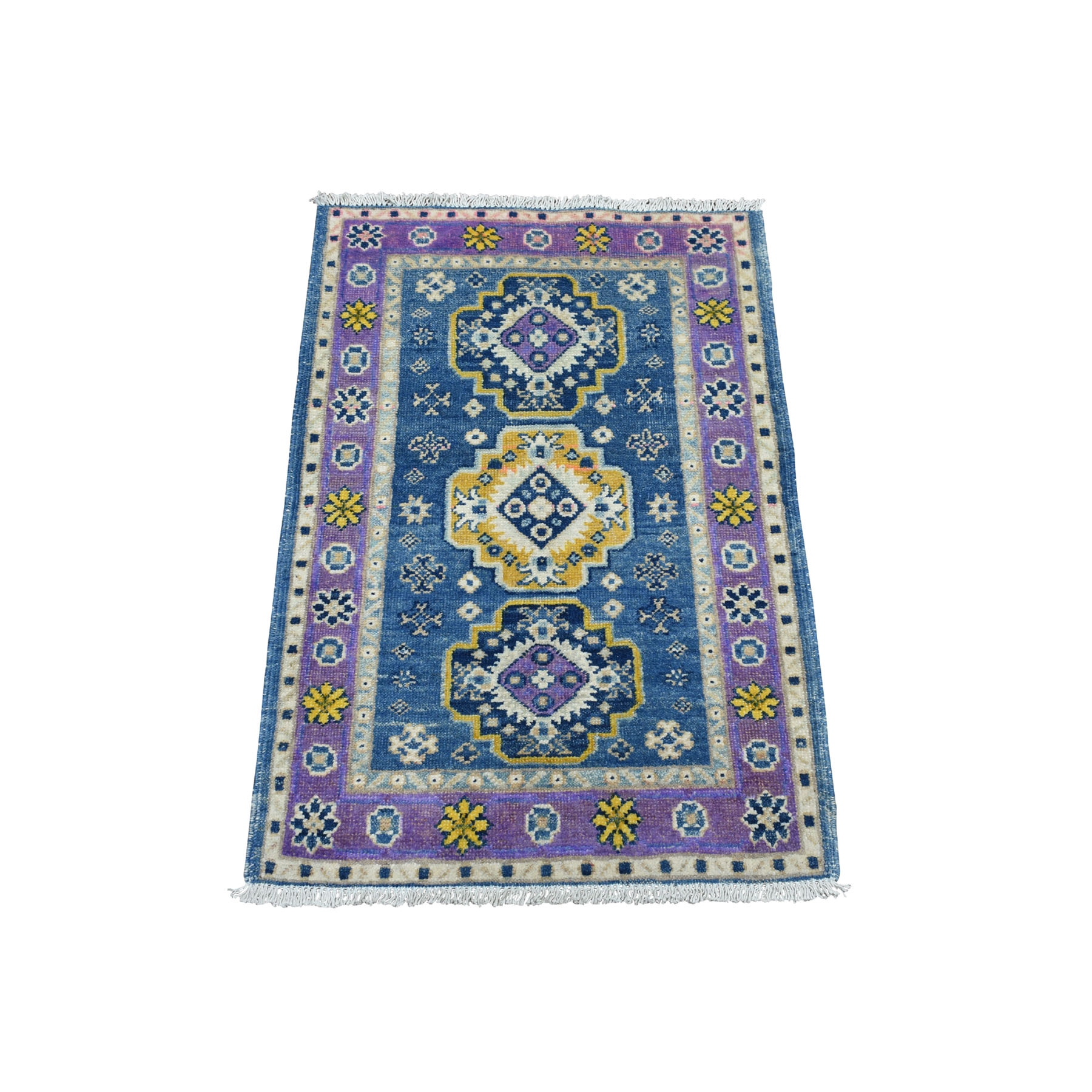 2'X3' Colorful Blue Fusion Kazak Pure Wool Geometric Design Hand Knotted Oriental Rug moaeda76