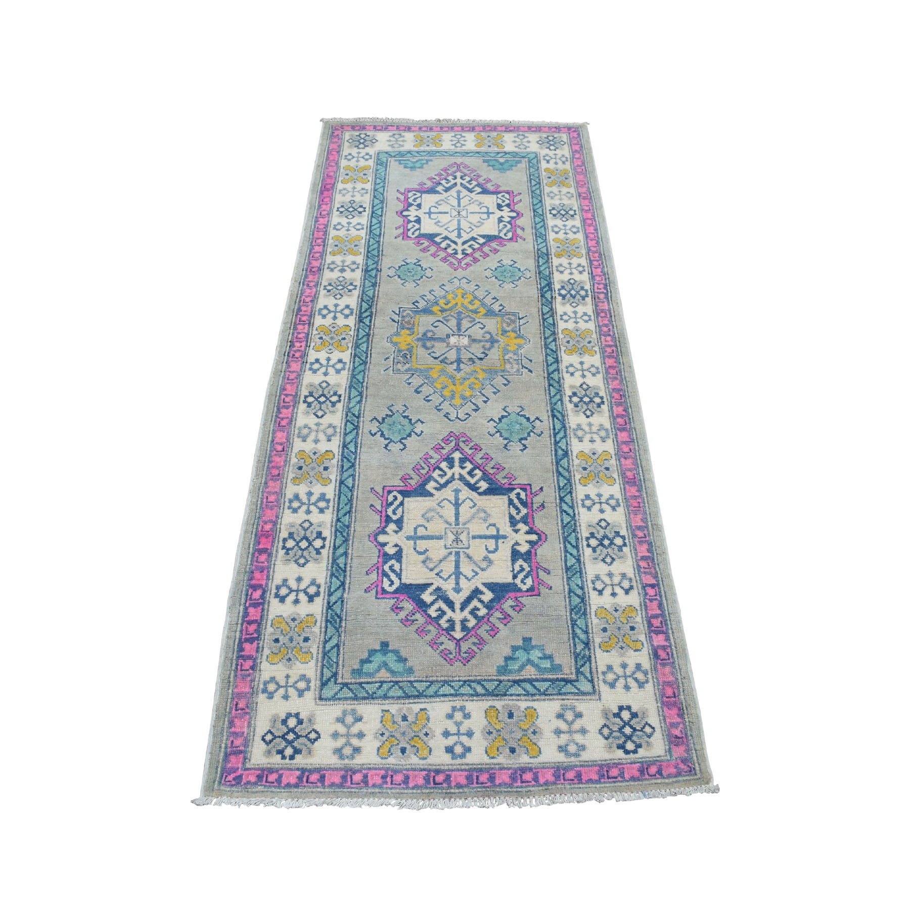 "2'8""X6'9"" Colorful Gray Fusion Kazak Pure Wool Hand Knotted Runner Oriental Rug moaeda77"
