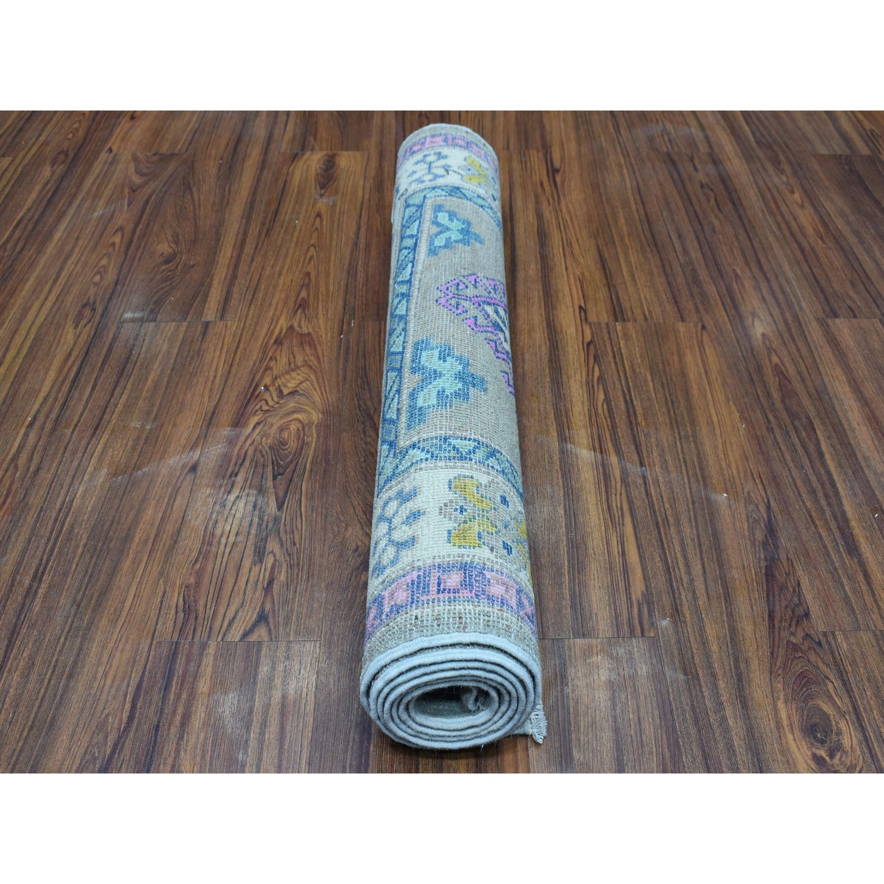 """2'8""""x6'9"""" Colorful Gray Fusion Kazak Pure Wool Hand Knotted Runner Oriental Rug"""