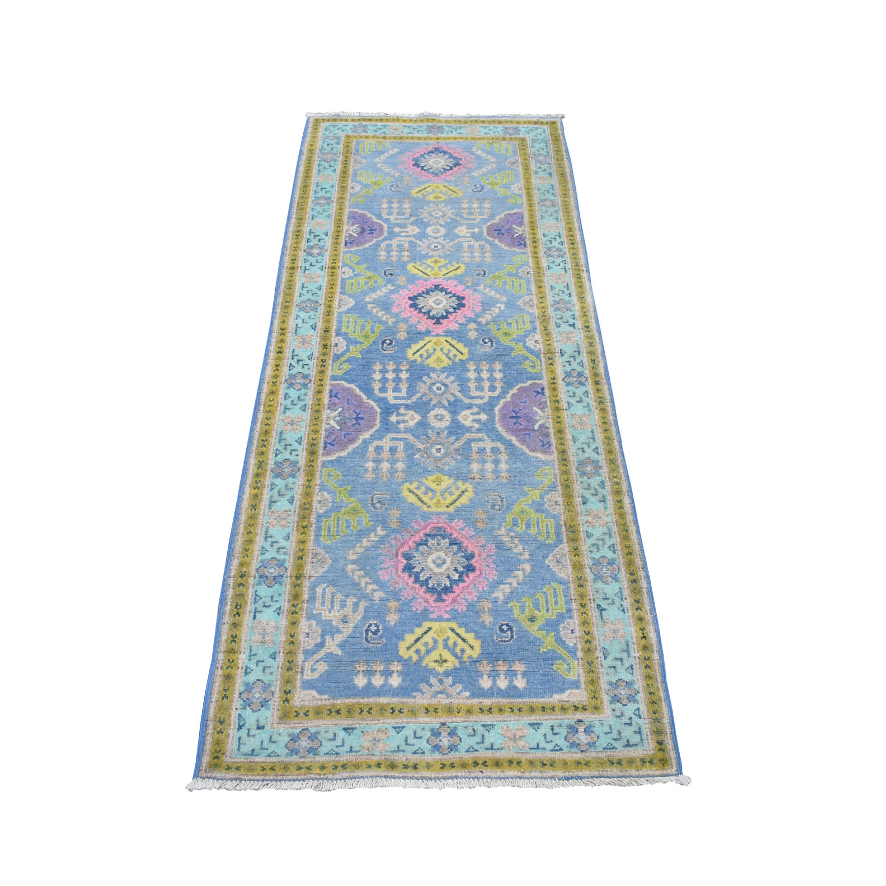 "2'7""x6'4' Colorful Blue Fusion Kazak Pure Wool Hand Knotted Runner Oriental Rug 54178"