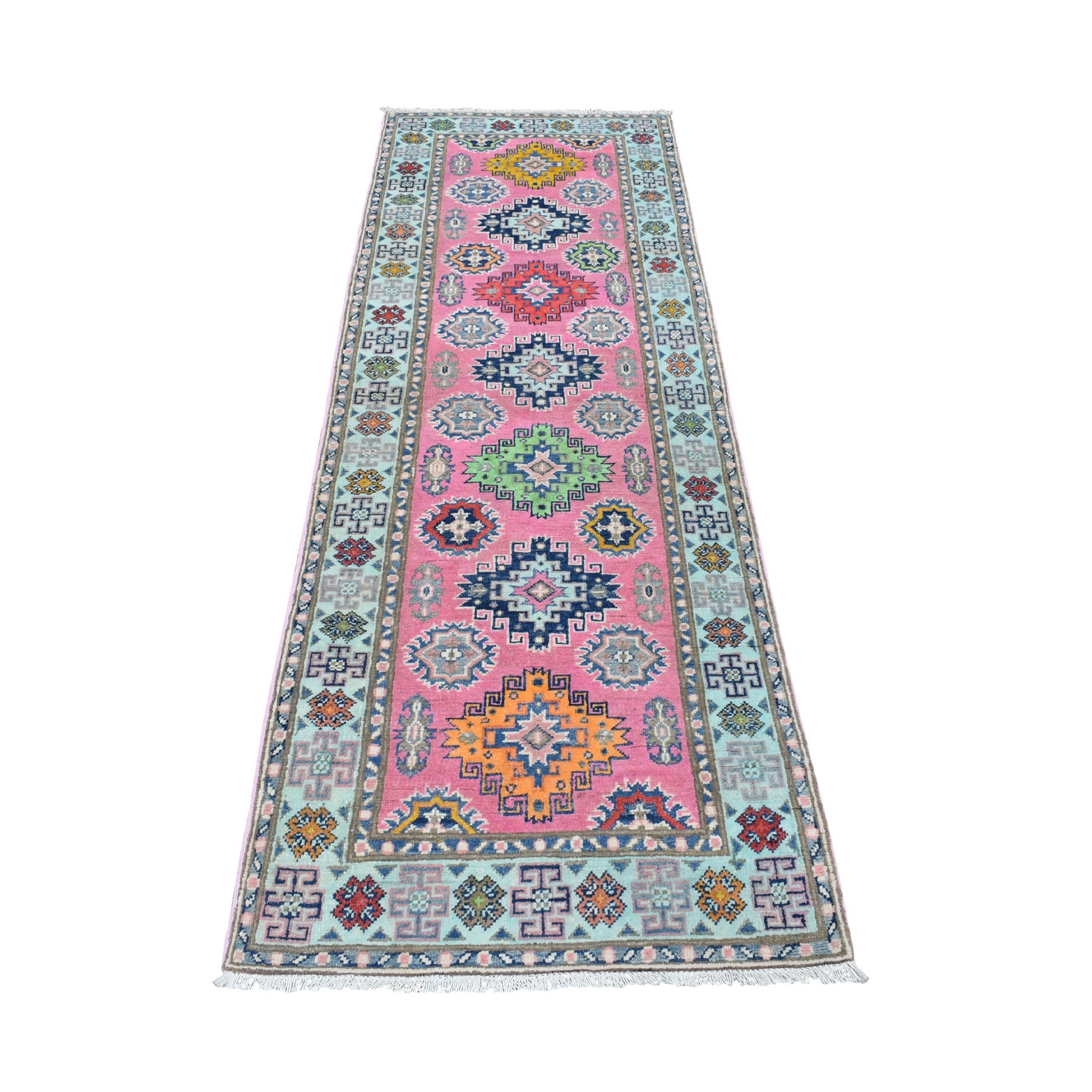 "2'7""X7'9"" Colorful Pink Fusion Kazak Pure Wool Geometric Design Runner Hand Knotted Oriental Rug moaeda79"
