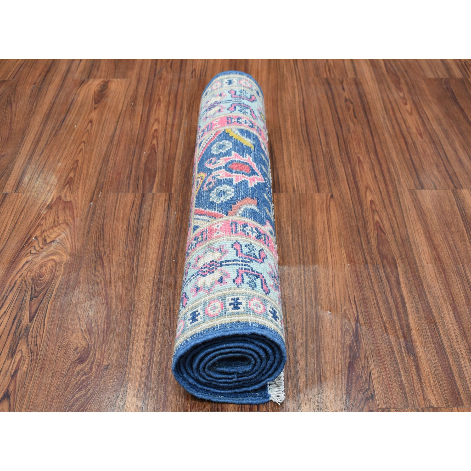 """2'1""""x5'10""""  Colorful Blue Fusion Kazak Pure Wool Hand Knotted Runner Oriental Rug"""