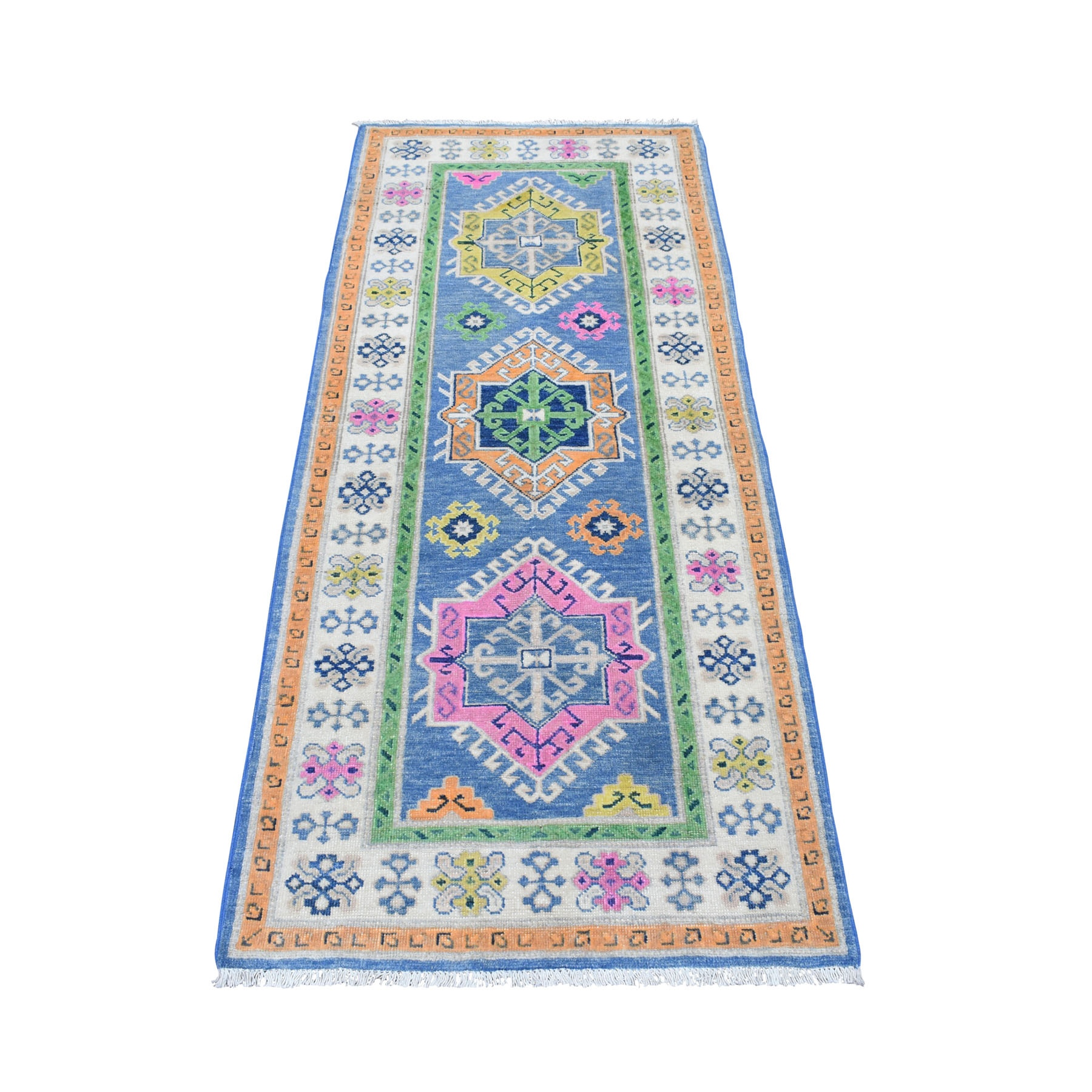"2'8""x6'3"" Colorful Blue Fusion Kazak Pure Wool Runner Hand Knotted Rug 54181"
