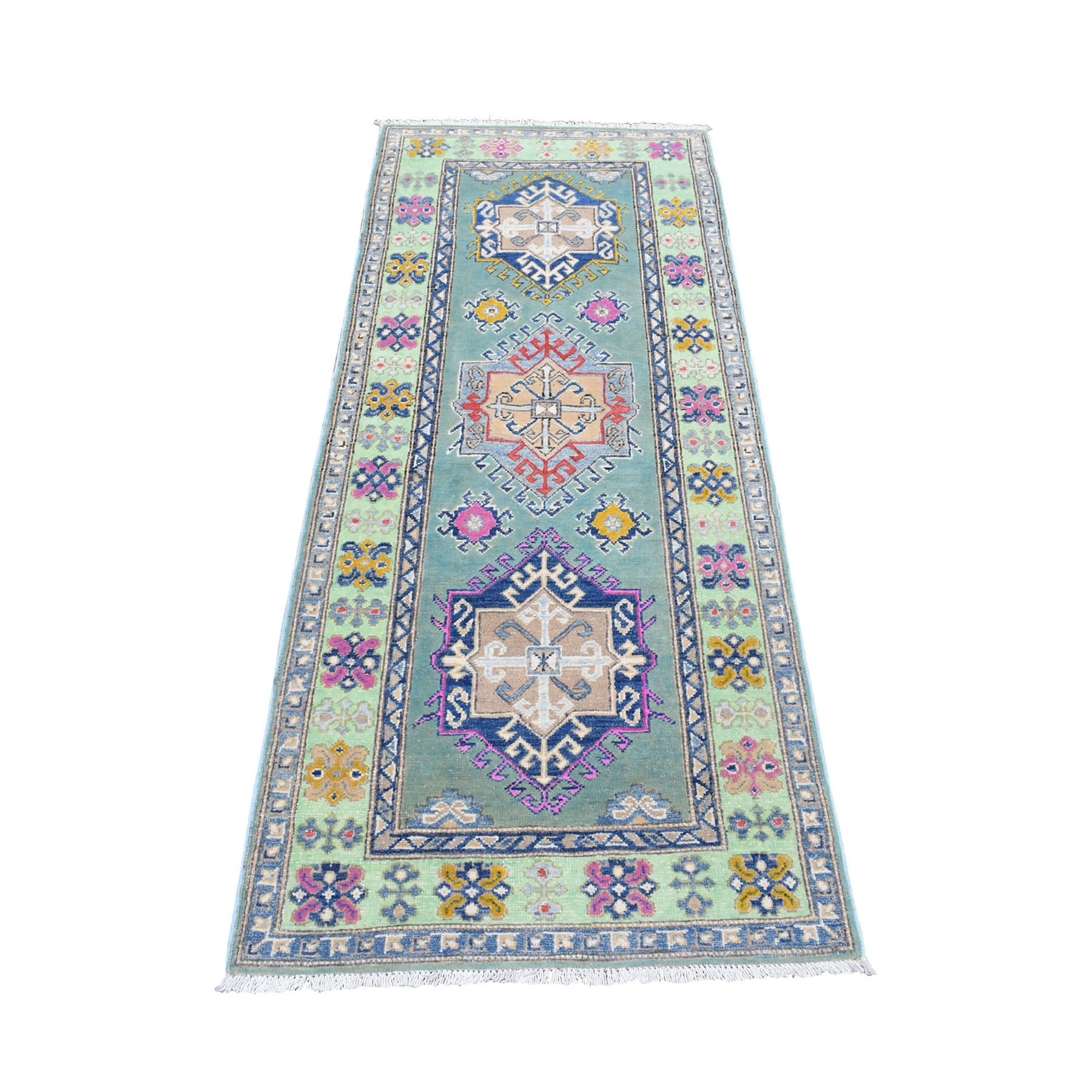 "2'7""X6'7"" Colorful Gray Fusion Kazak Pure Wool Hand Knotted Runner Oriental Rug moaeda8b"