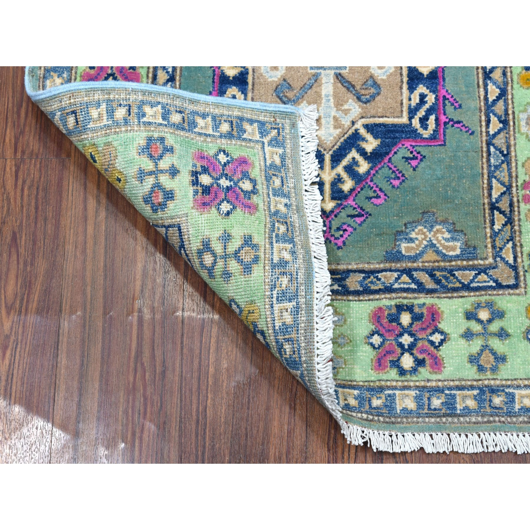 """2'7""""x6'7"""" Colorful Gray Fusion Kazak Pure Wool Hand Knotted Runner Oriental Rug"""