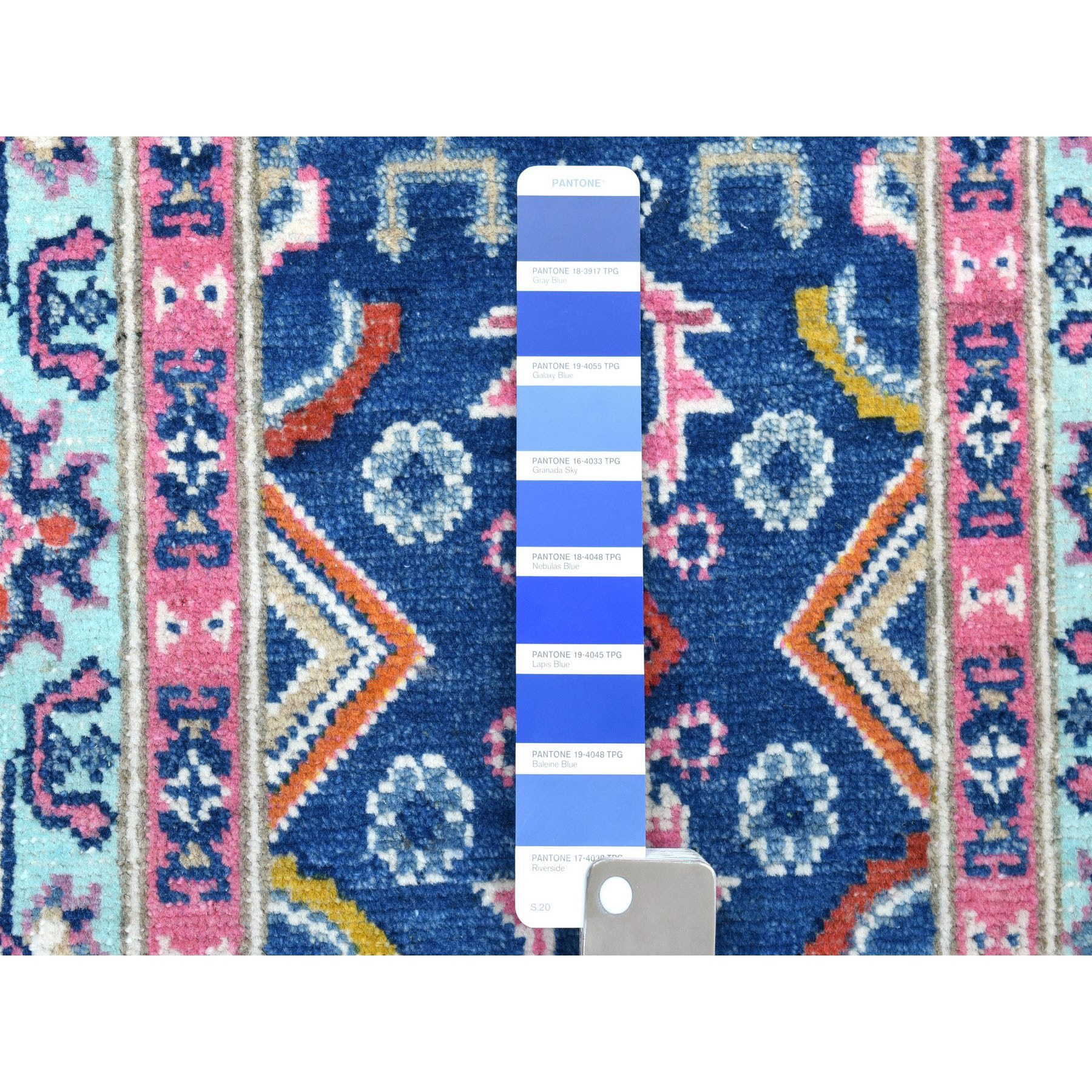 """2'x5'10"""" Colorful Blue Fusion Kazak Pure Wool Hand Knotted Runner Oriental Rug"""