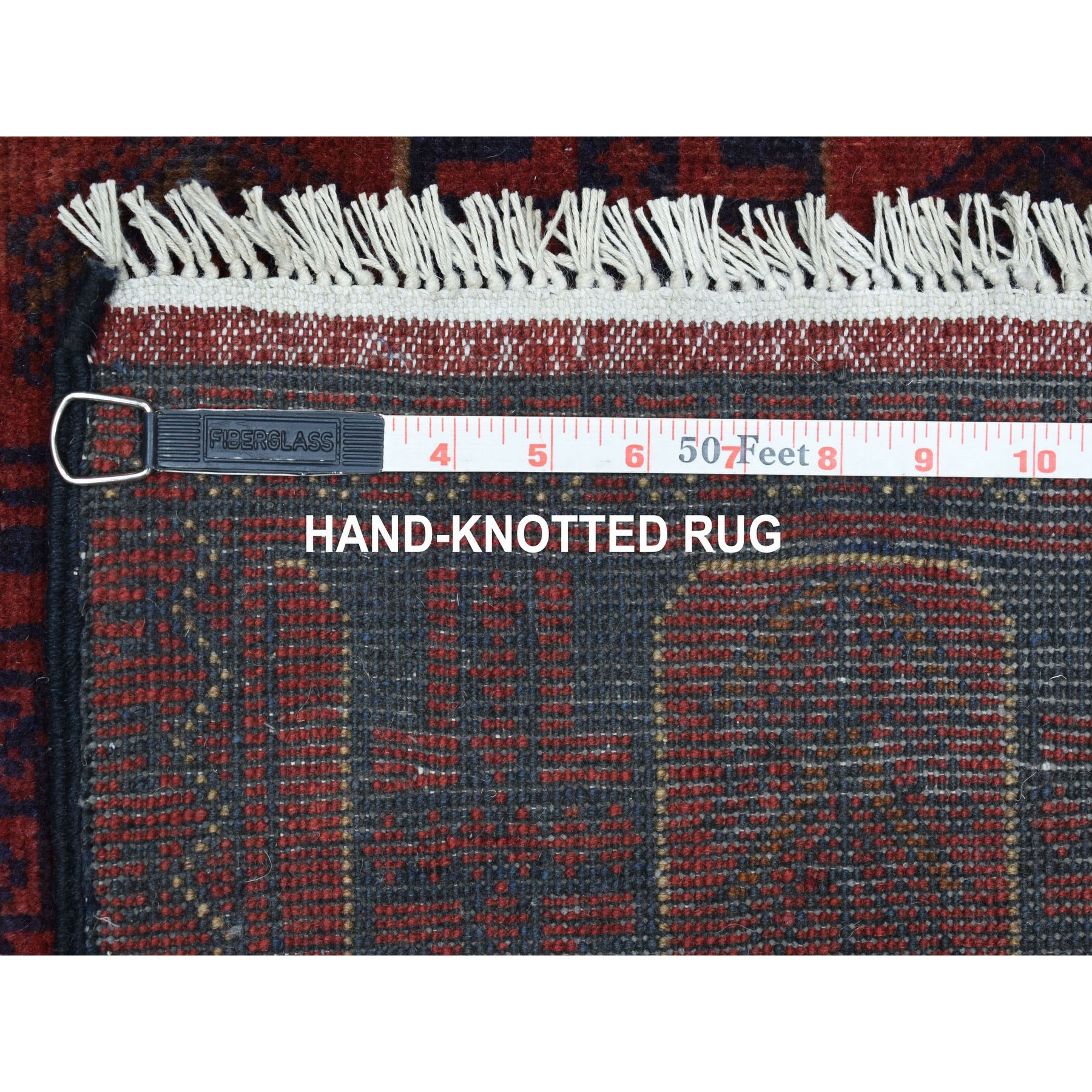 """2'6""""x6'1"""" Deep and Saturated Red Geometric Afghan Andkhoy Runner Pure Wool Hand Knotted Oriental Rug"""