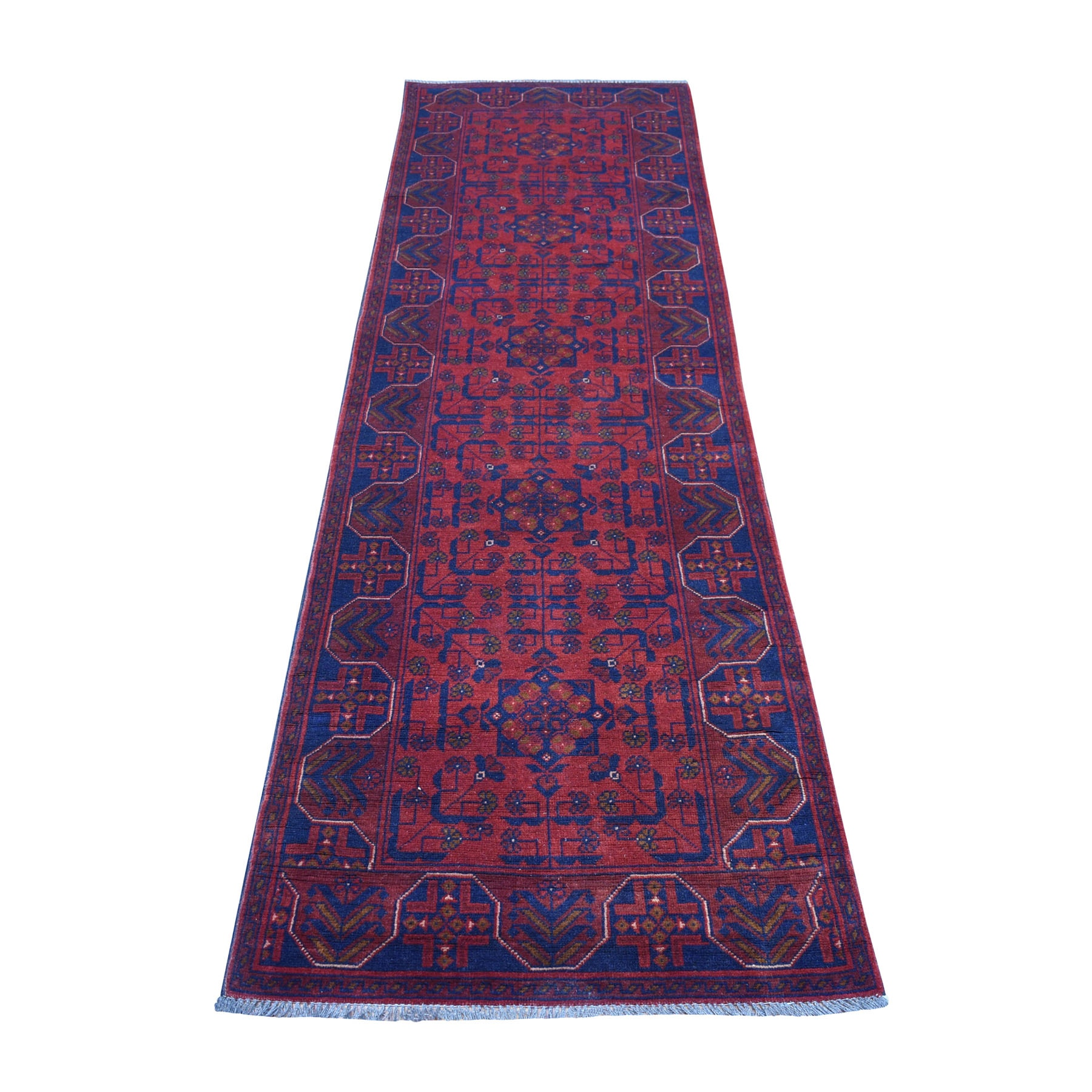 """2'8""""x9'8"""" Deep and Saturated Red Geometric Afghan Andkhoy Runner Pure Wool Hand Knotted Oriental Rug"""