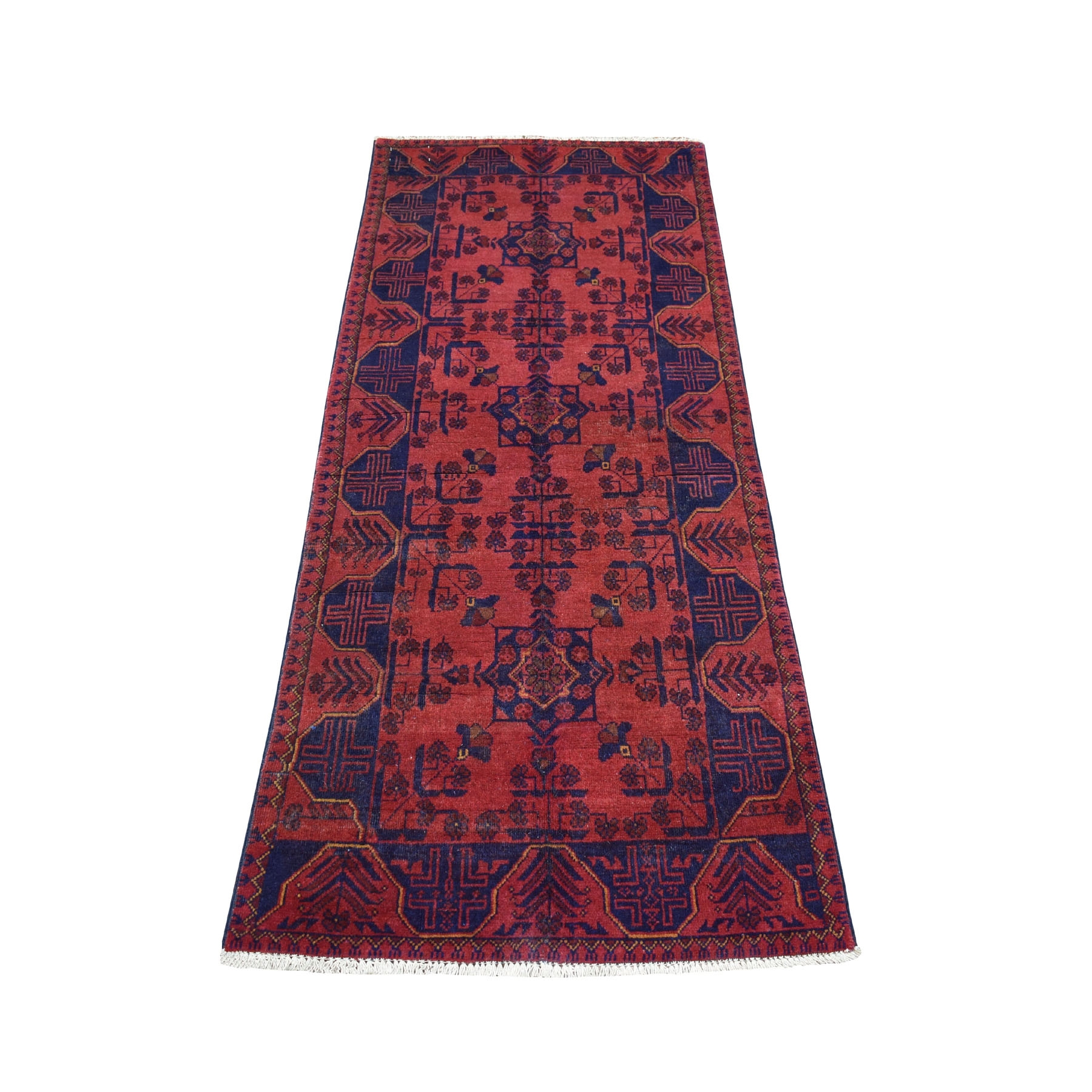 """2'7""""x6'4"""" Deep and Saturated Red Geometric Afghan Andkhoy Runner Pure Wool Hand Knotted Oriental Rug"""