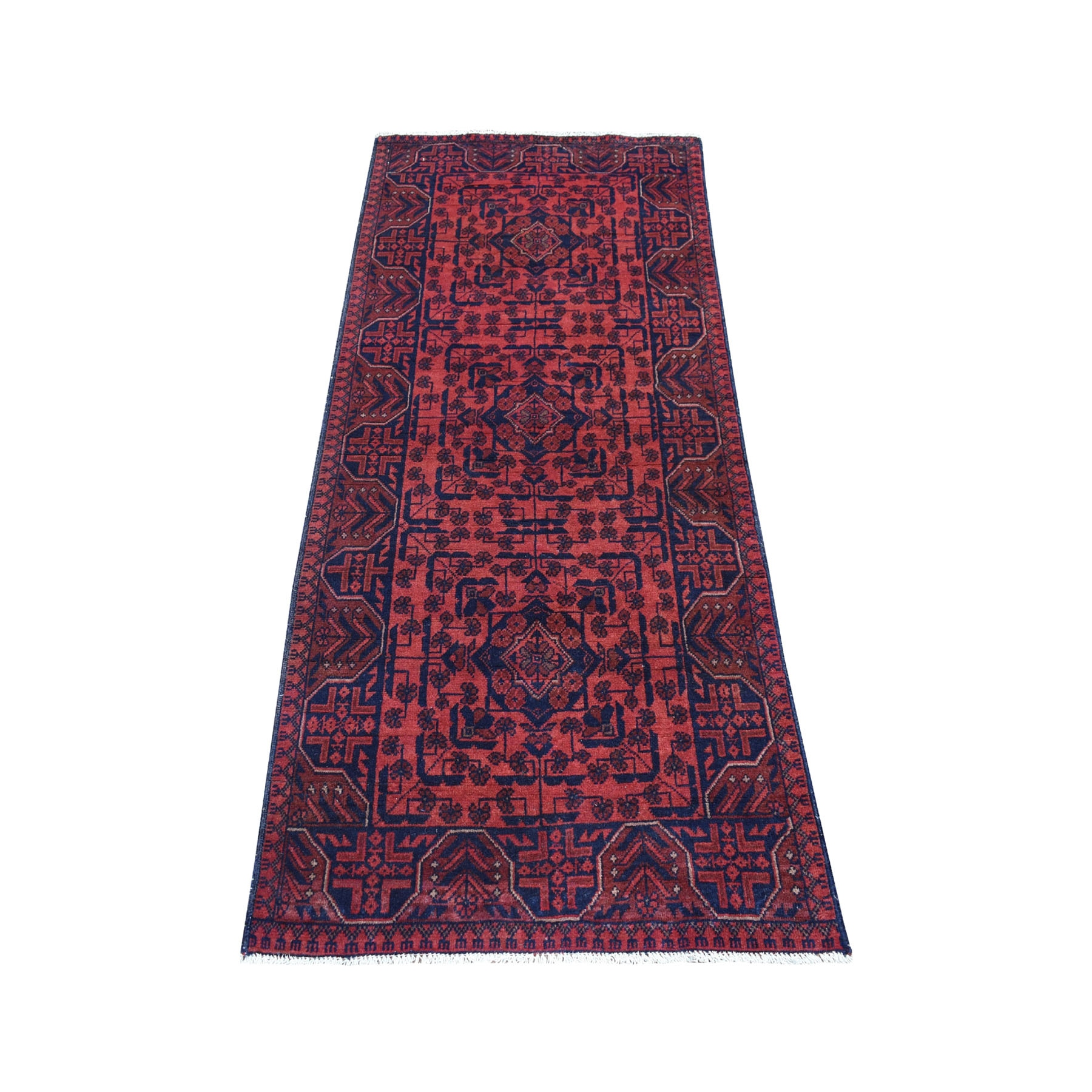 "2'8""X6'3"" Deep And Saturated Red Tribal Afghan Andkhoy Runner Pure Wool Hand Knotted Oriental Rug moaeda87"