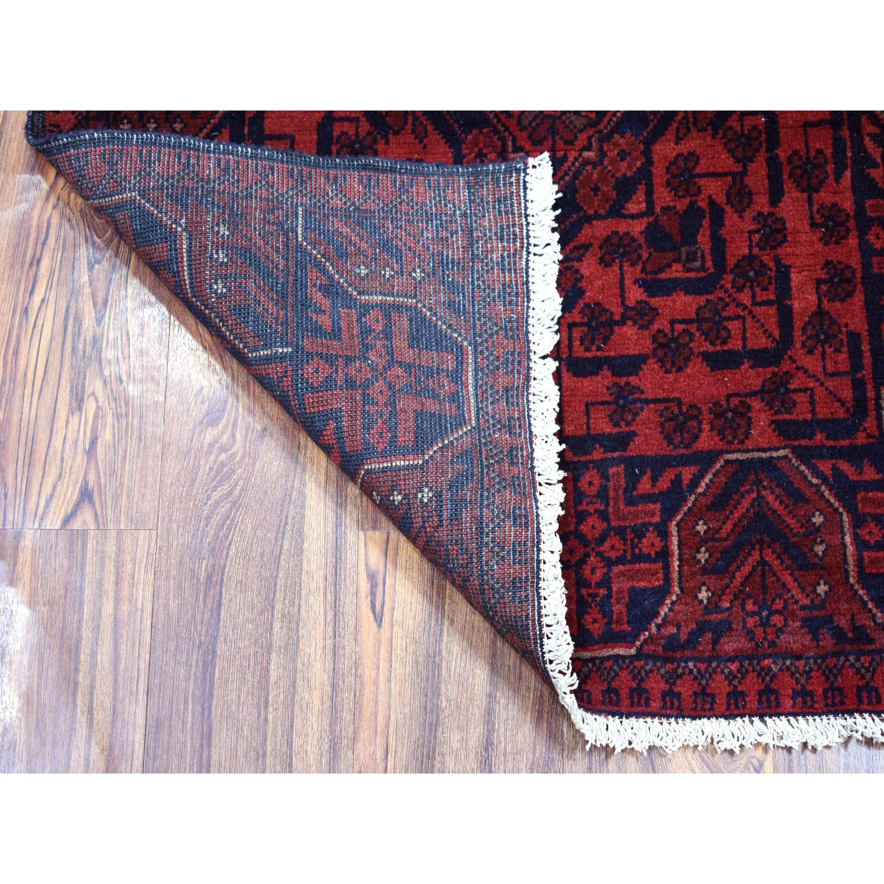 """2'8""""x6'3"""" Deep and Saturated Red Tribal Afghan Andkhoy Runner Pure Wool Hand Knotted Oriental Rug"""