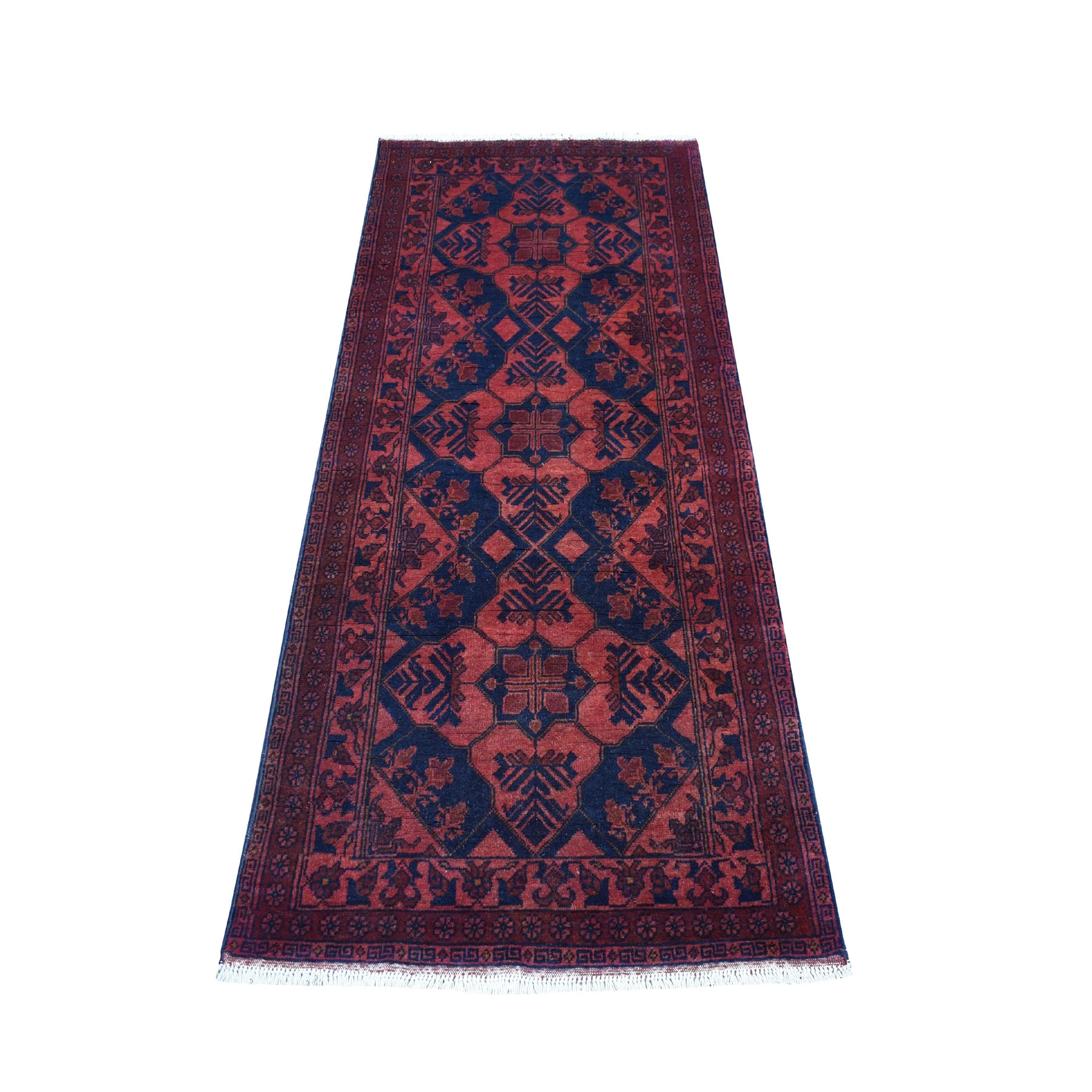 "2'7""x6'4"" Deep and Saturated Red Tribal Afghan Andkhoy Runner Pure Wool Hand Knotted Oriental Rug"