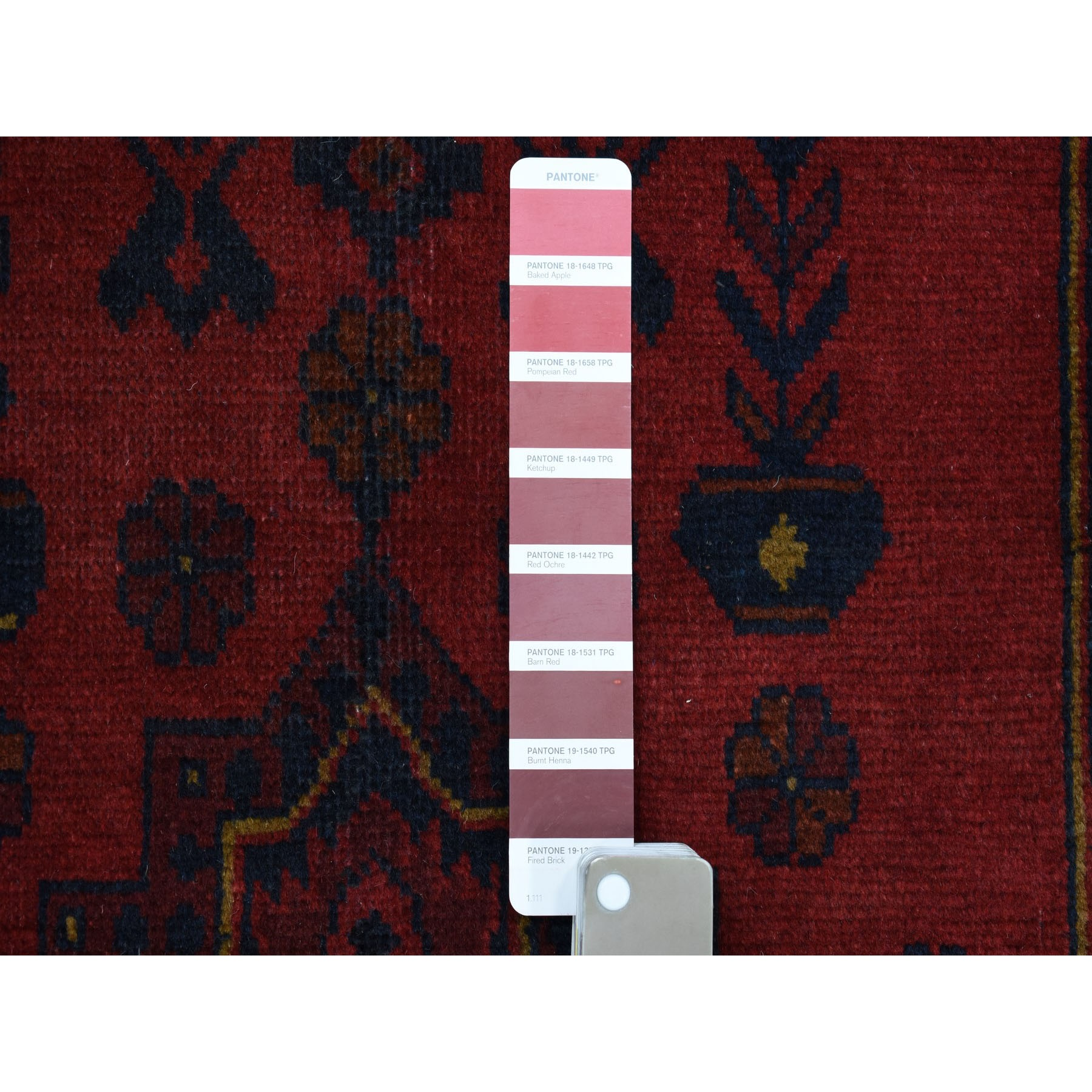 """2'4""""x6' Deep and Saturated Red Geometric Afghan Andkhoy Runner Pure Wool Hand Knotted Oriental Rug"""