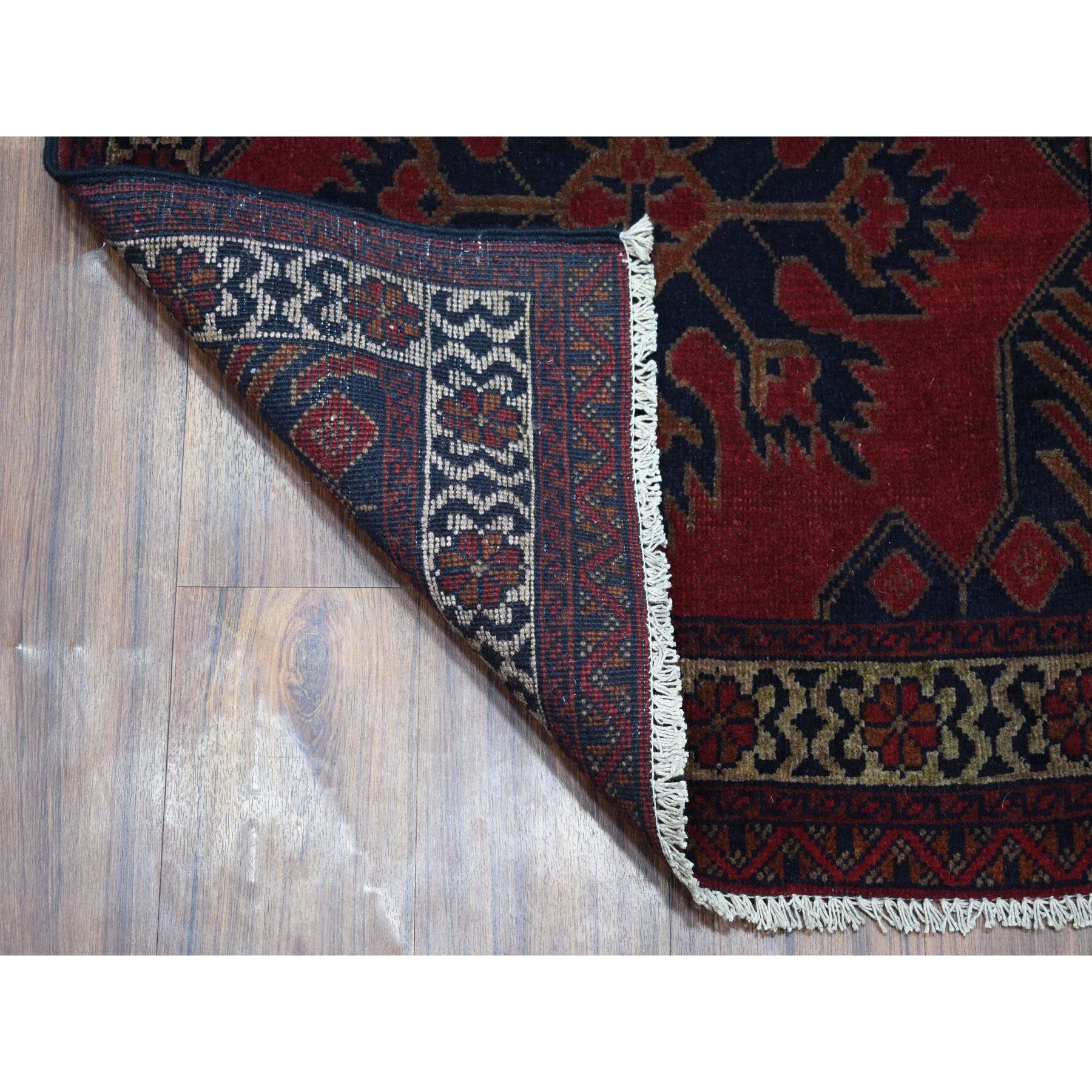 "2'7""x4'1"" Deep and Saturated Red Tribal Afghan Andkhoy Pure Wool Hand Knotted Oriental Rug"