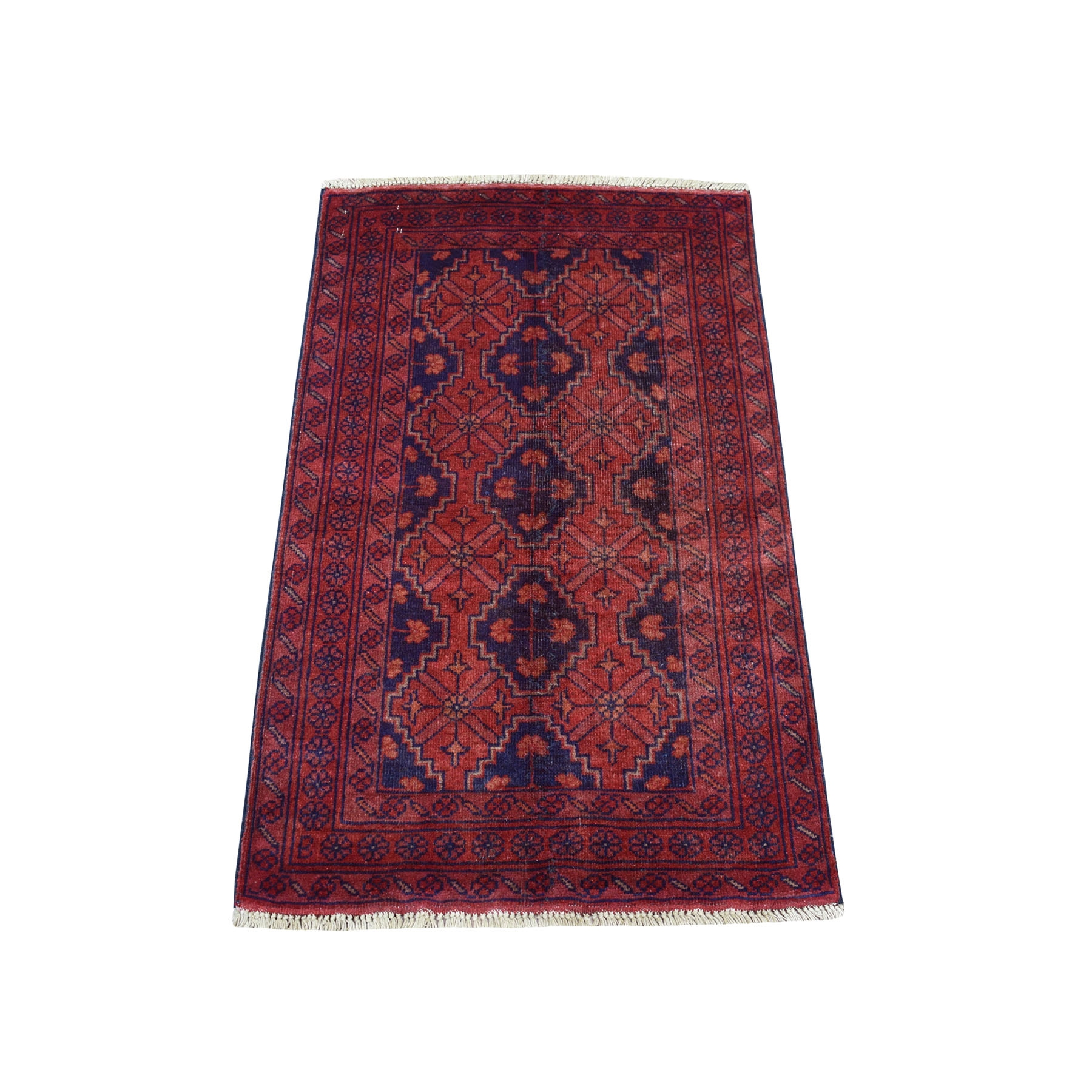 """2'4""""X4' Deep And Saturated Red Geometric Afghan Andkhoy Pure Wool Hand Knotted Oriental Rug moaeda9a"""